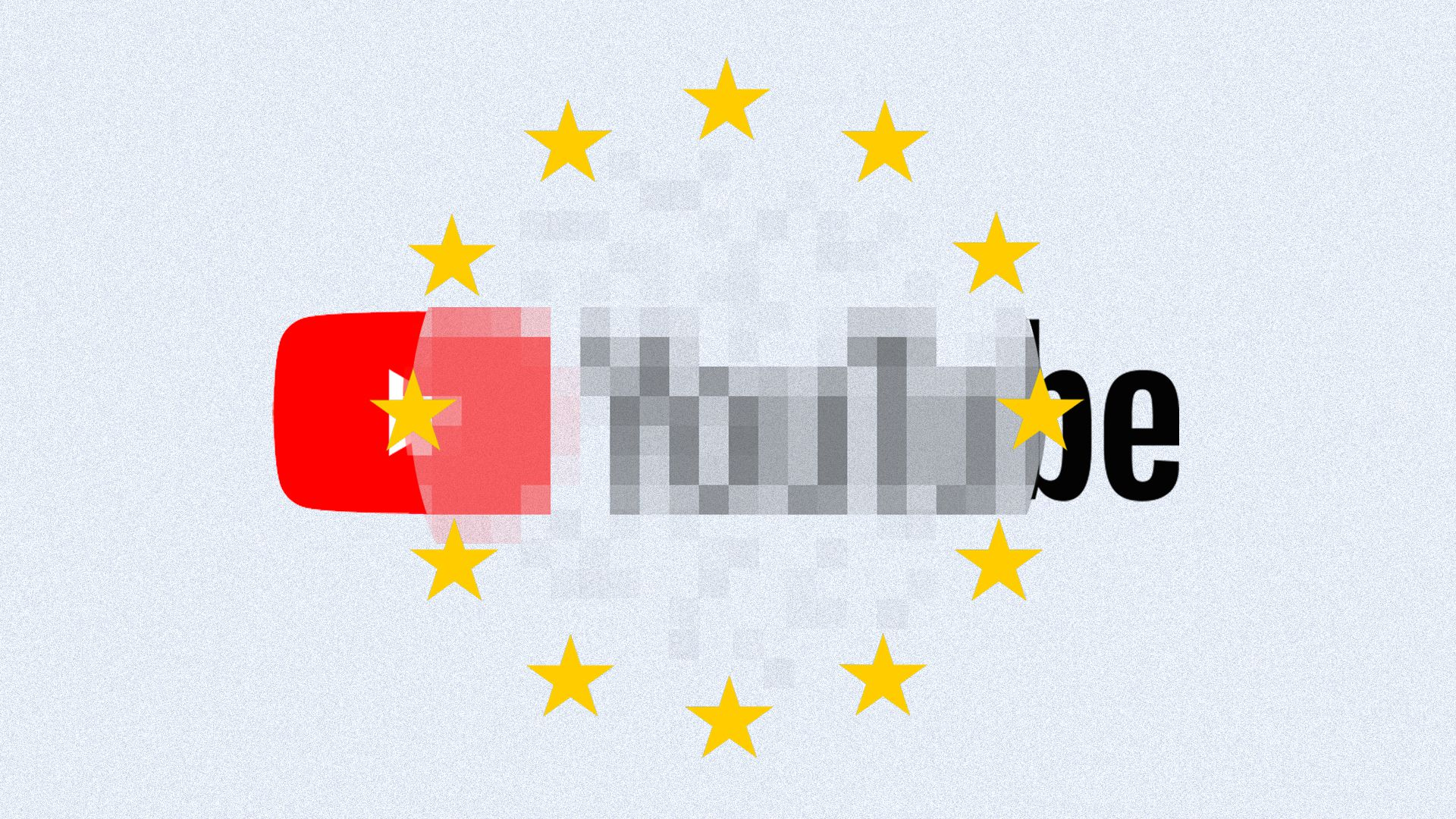 Illustration of pixelated Youtube logo inside EU flag