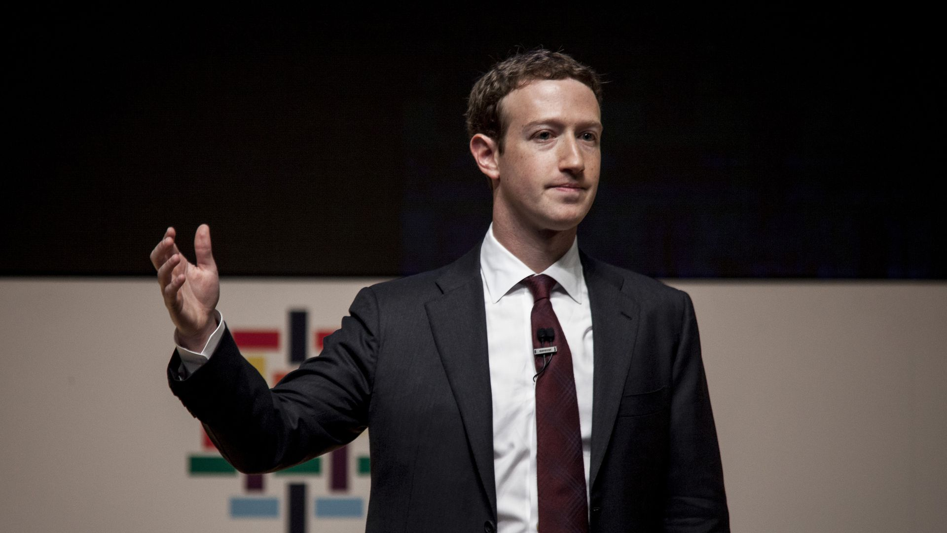 Facebook CEO Mark Zuckerberg in a suit
