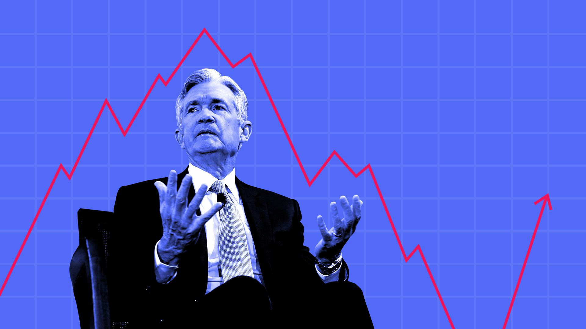 Illustration of Jerome Powell influencing stock chart