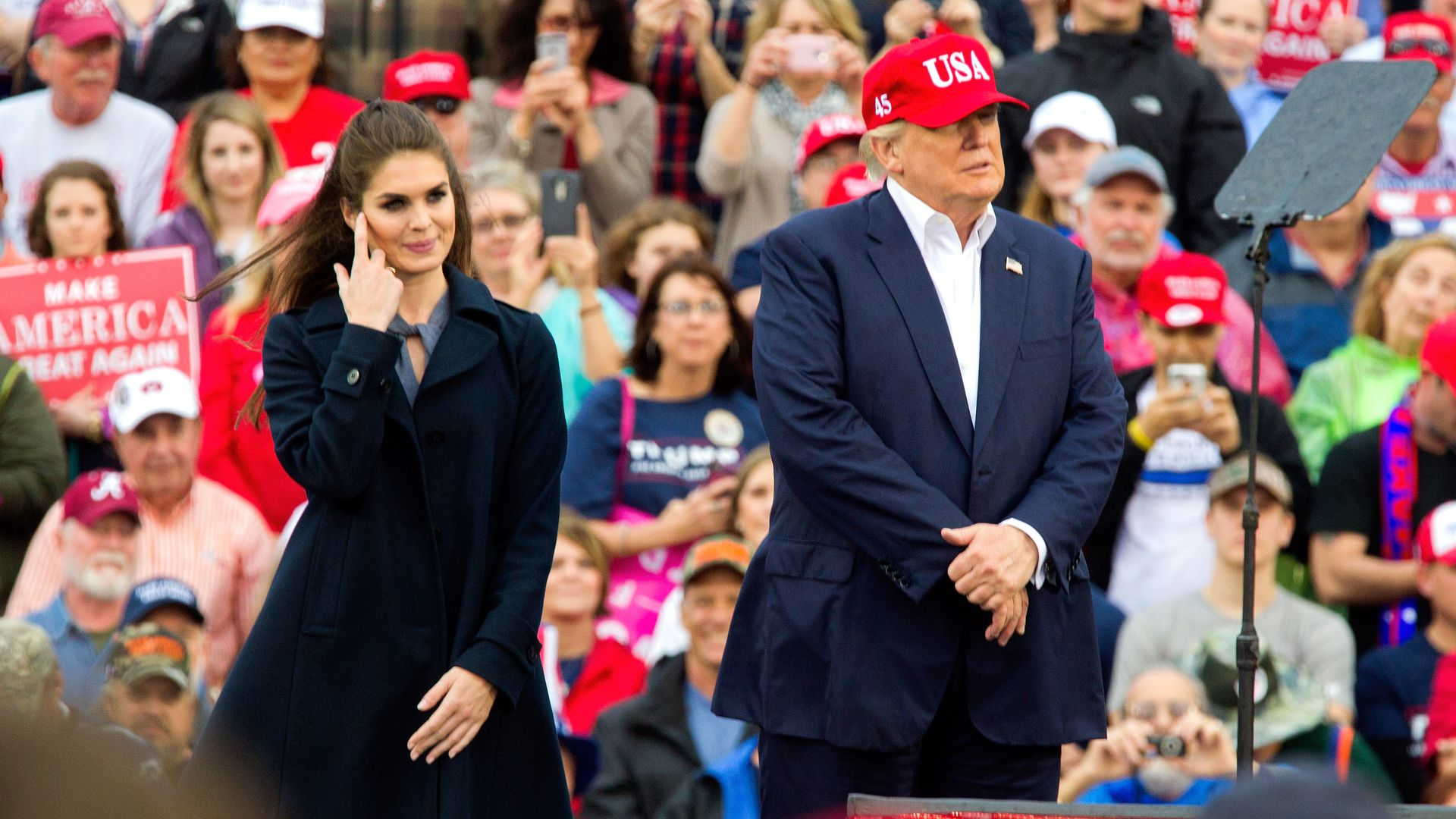Hope Hicks with Trump at rally