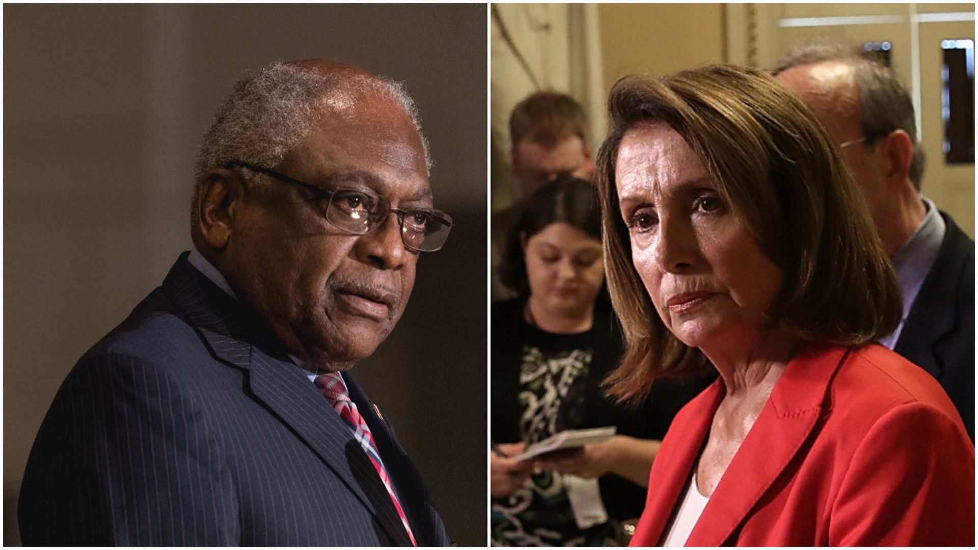 Side by side photos of Jim Clyburn on the left and Nancy Pelosi on the right