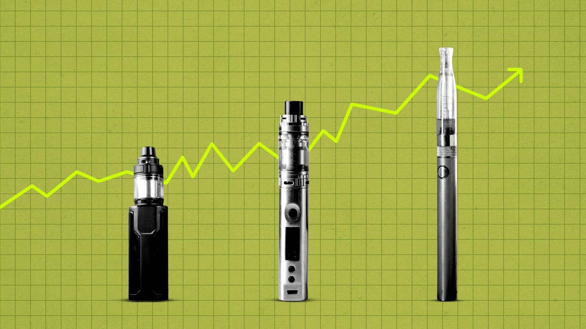 Illustration of three vape pens in front of an upward trending graph.