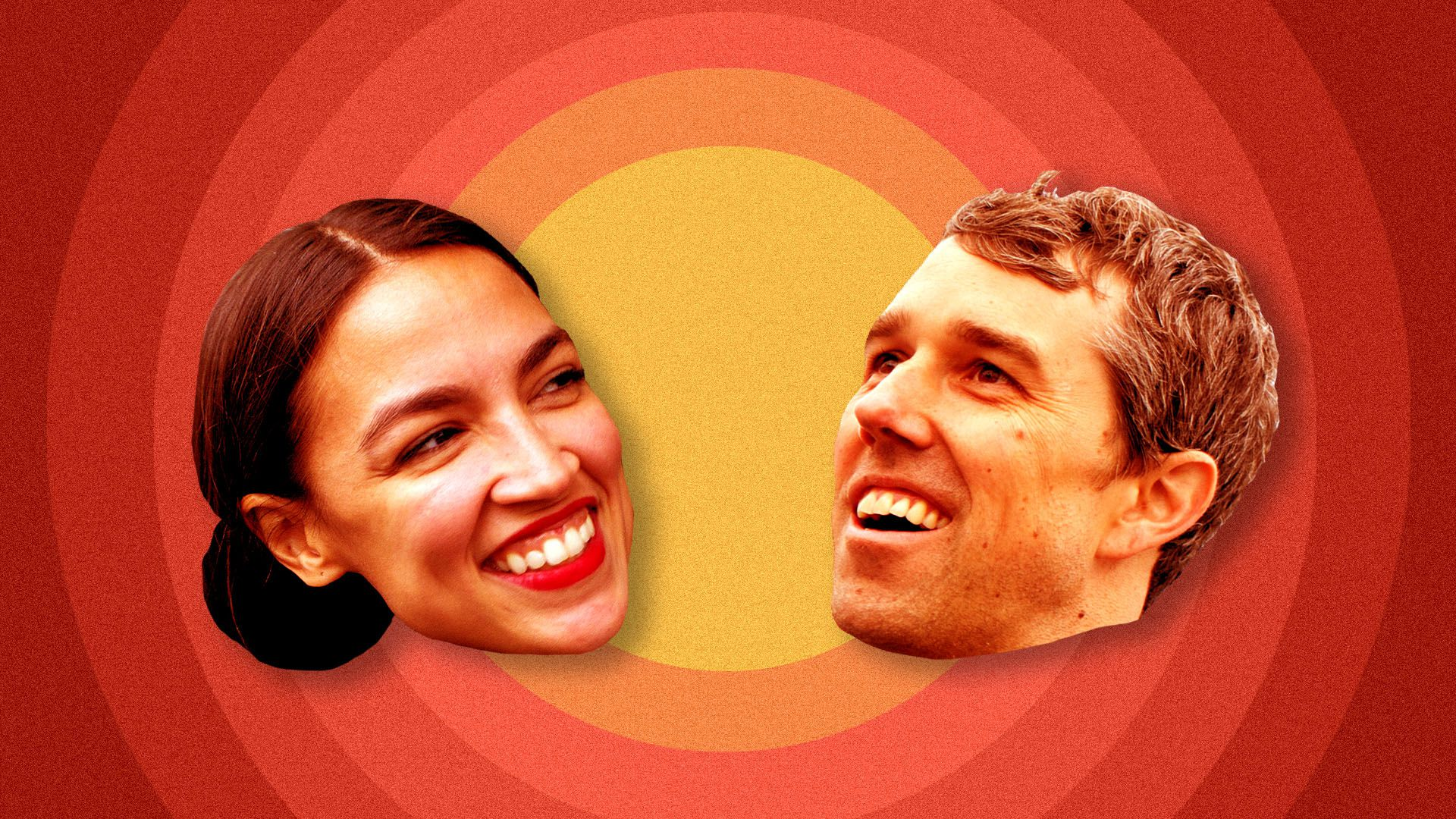 Illustration of Alexandria Ocasio-Cortez and Beto O'Rourke
