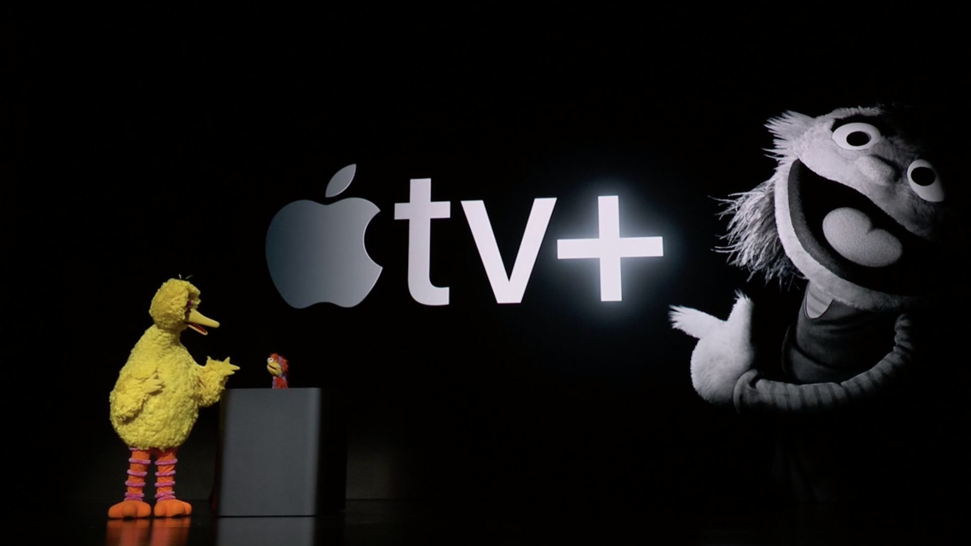 Big Bird on stage at Apple TV+ launch event