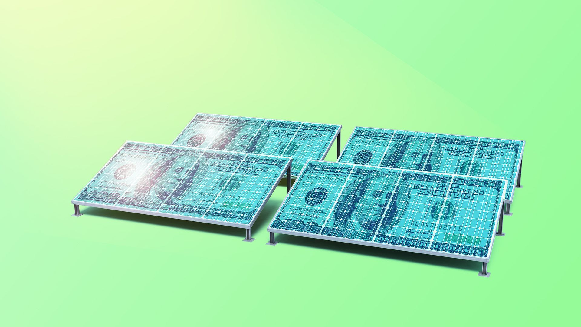 In this illustration, solar panels are designed to look like 100 dollar bills.