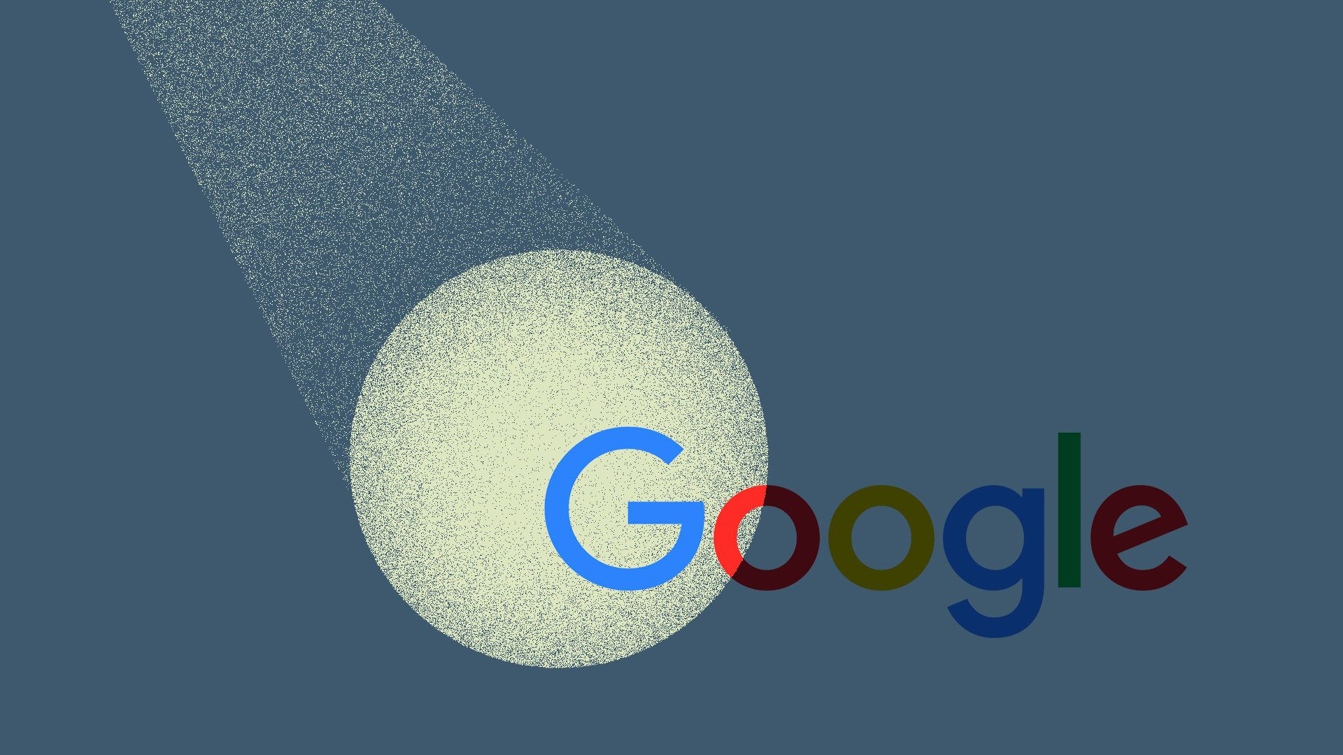 Illustration of a spotlight over Google's logo