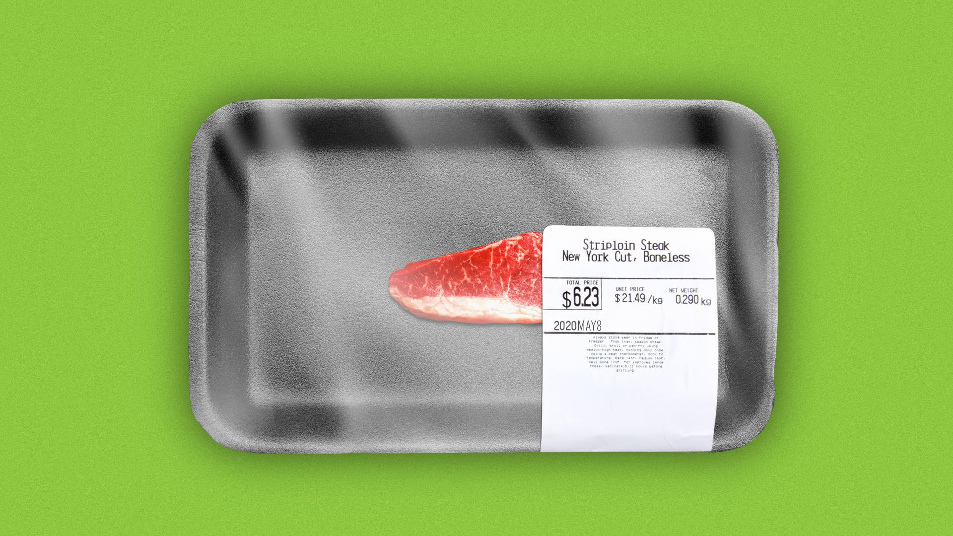 Illustration of a piece of tiny meat in a large styrofoam package.