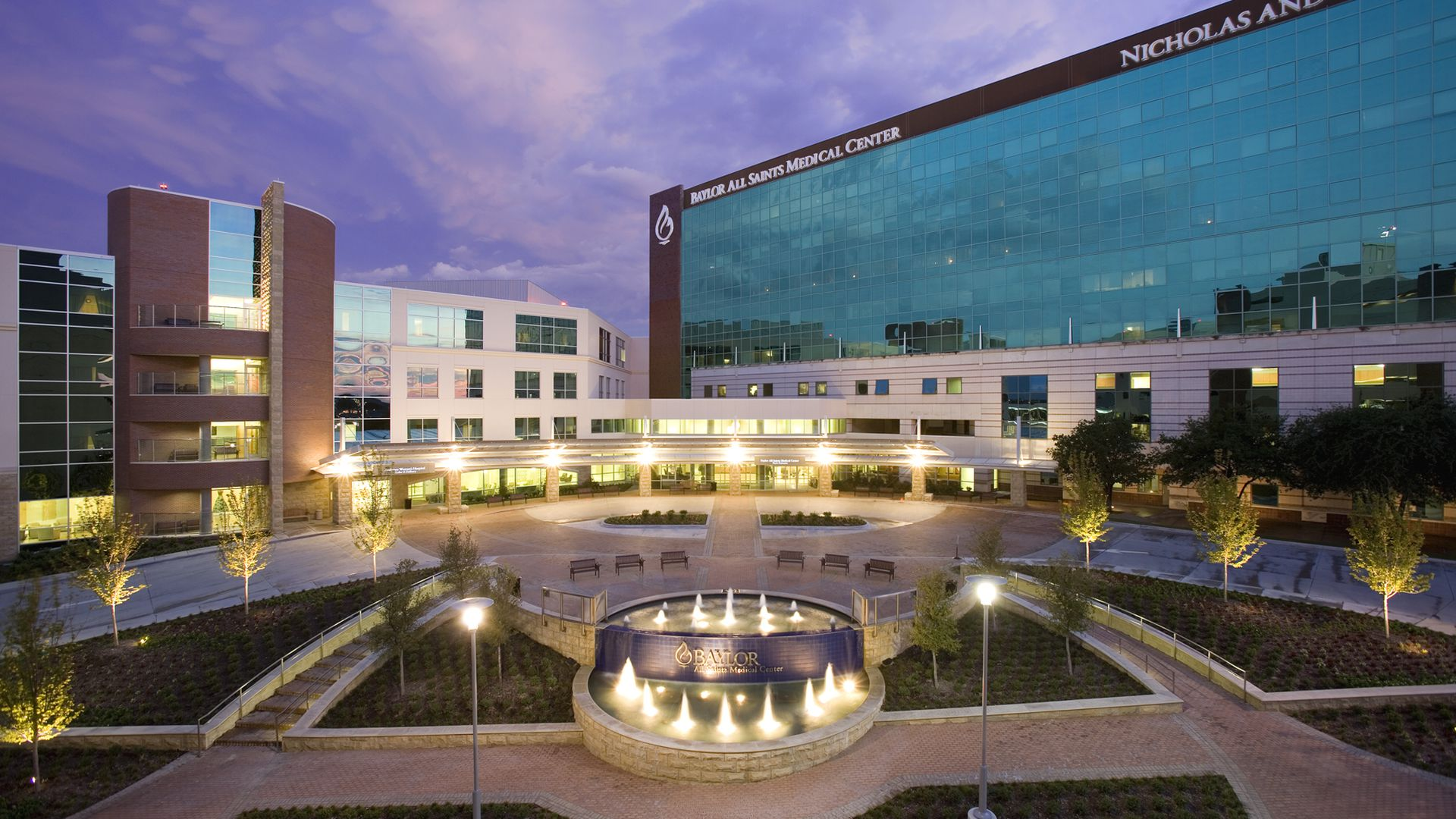 A Baylor Scott & White hospital in Texas at twilight.