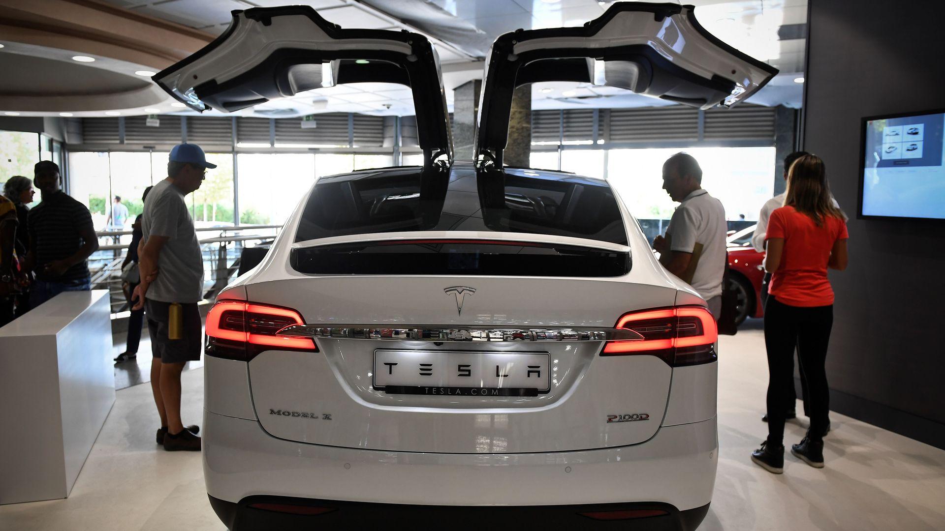 Tesla car in a ashowroom