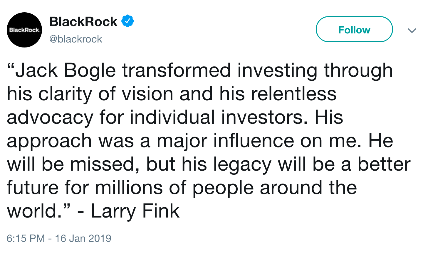 Tweet from BlackRock