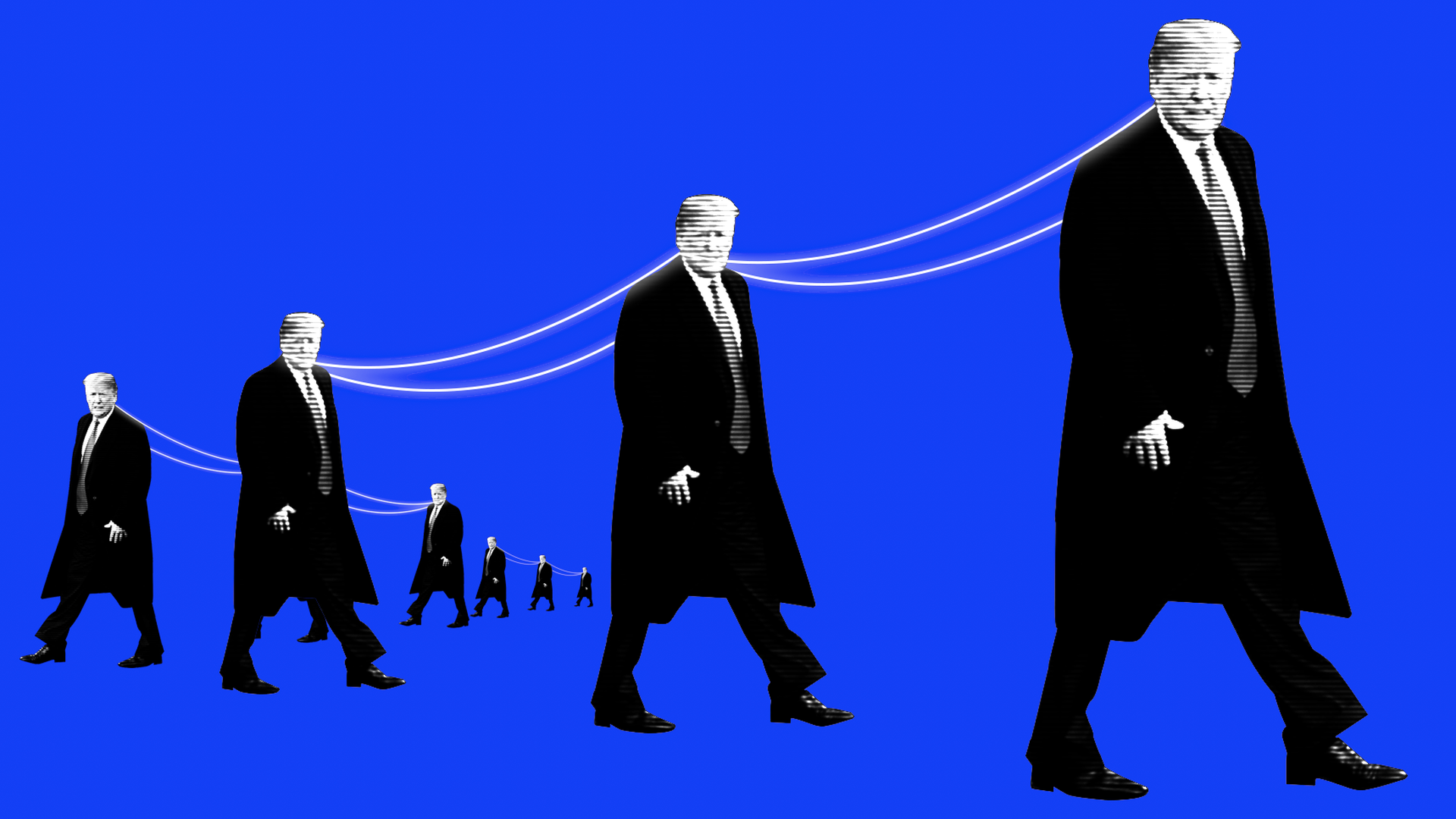 A group of President Trumps with power lines strung between them