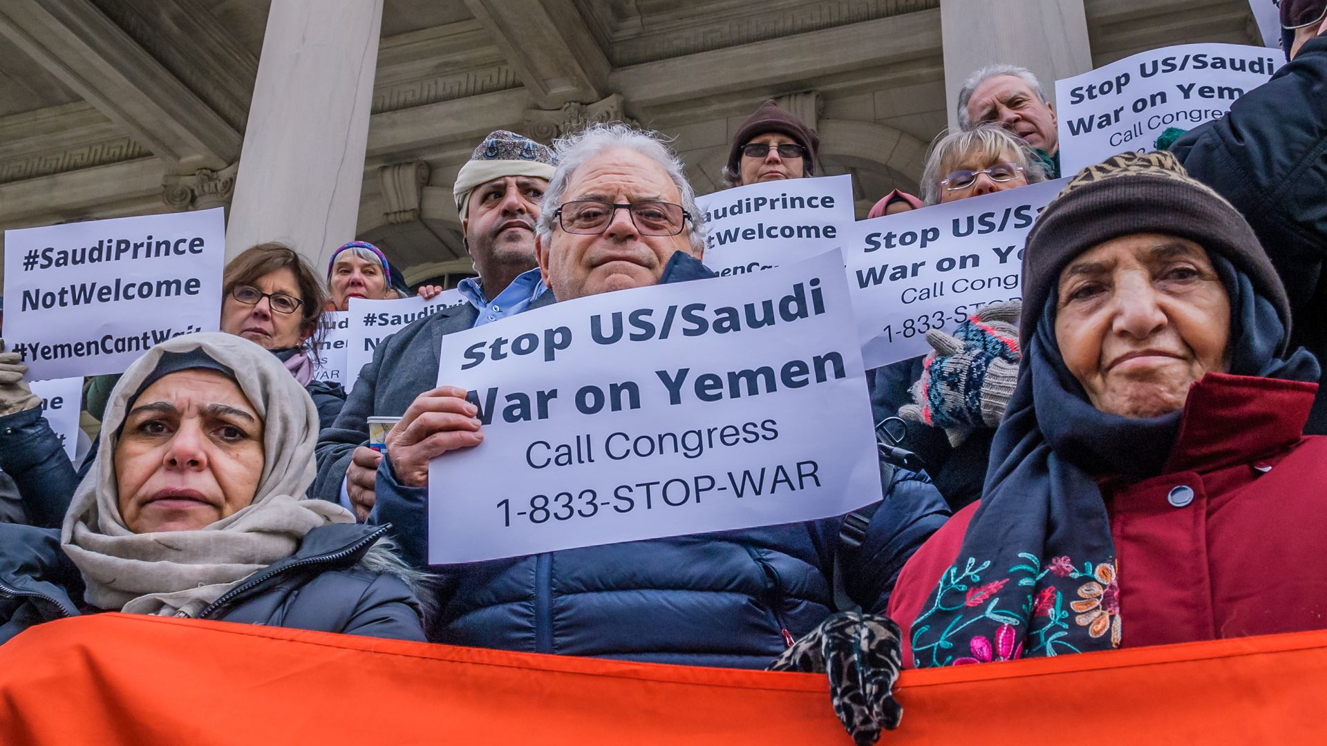 "New Yorkers hold signs that say, ""Stop U.S./Saudi War in Yemen"""