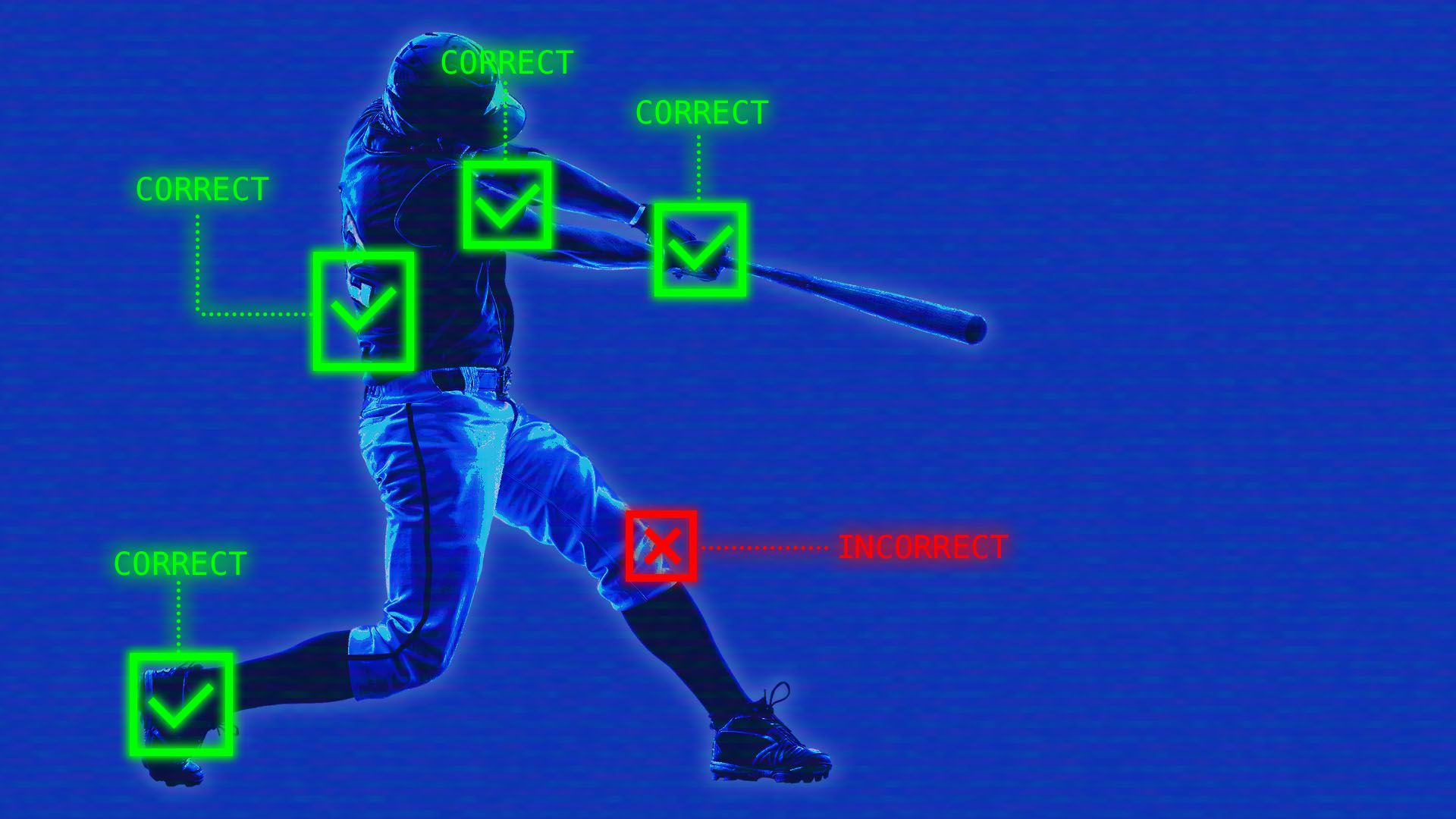 Illustration of a baseball player's batting form being evaluated by technology