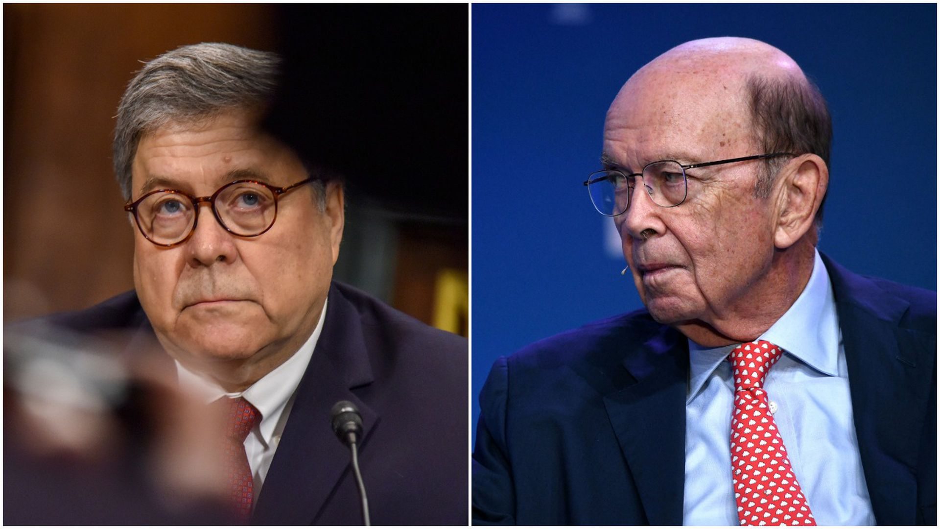 This image is a split screen of Bill Barr and Wilbur Ross.