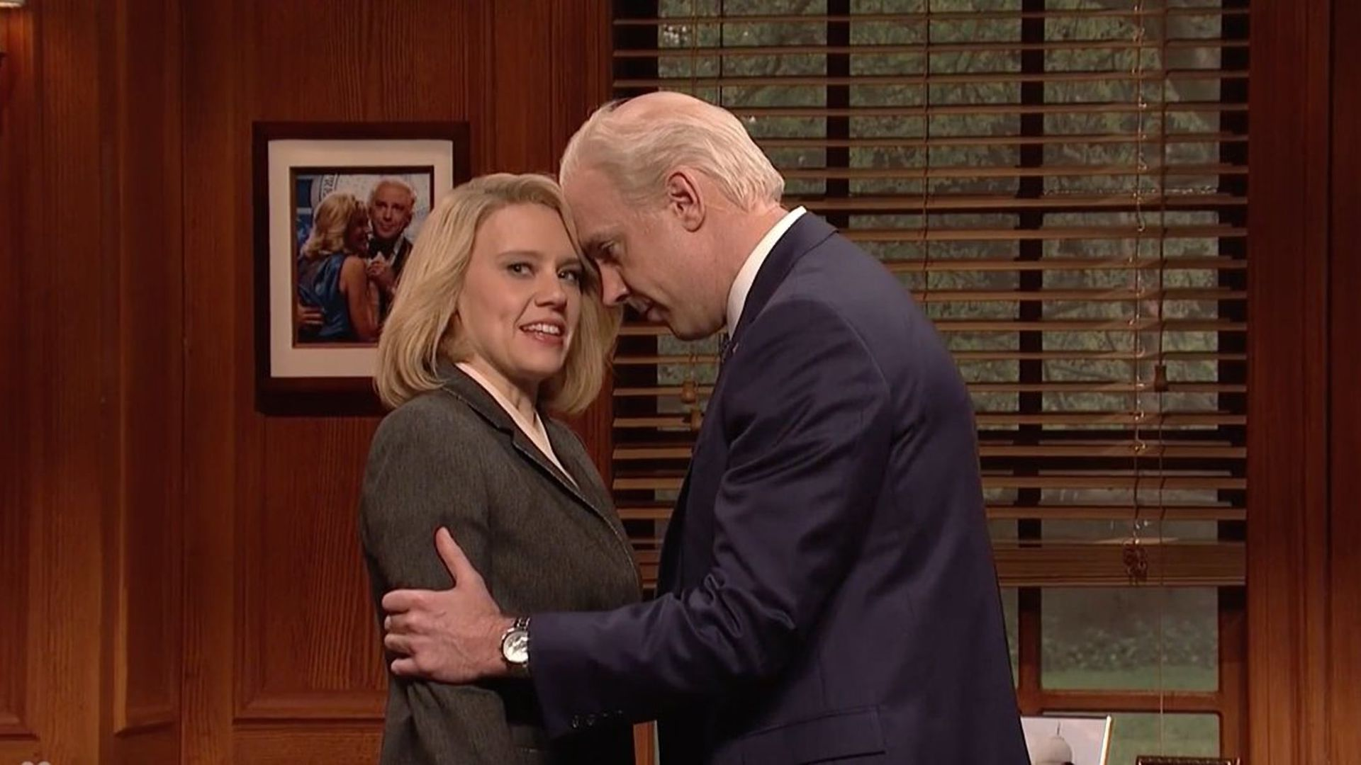 """Saturday Night Live'"" Jason Sudeikis parodies the Joe Biden public displays of affection controversy."