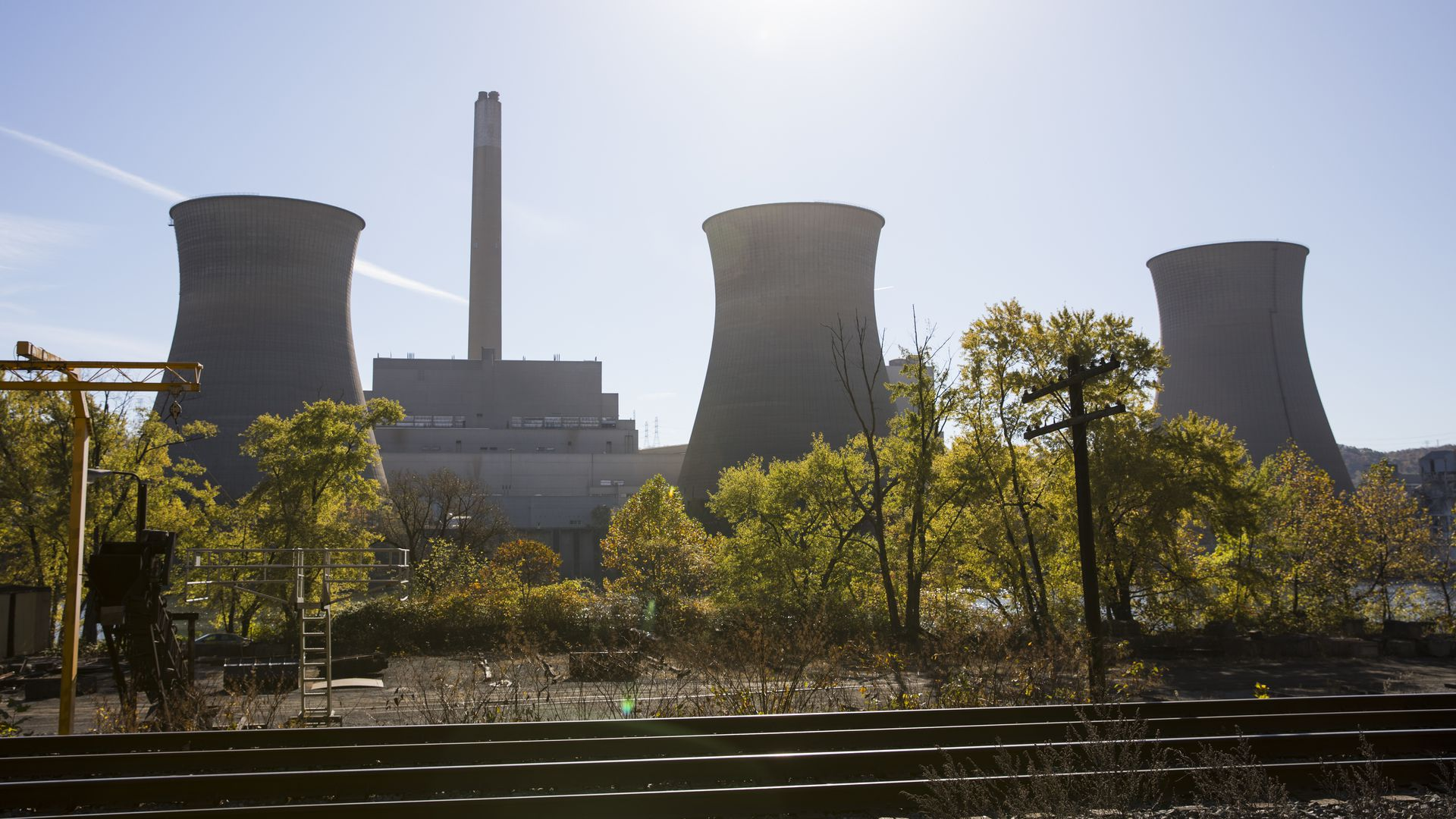 A view of the inactive cooling towers at FirstEnergy Corporation's Bruce Mansfield coal-fired power plant October 27, 2017 in Shippingport, Pennsylvania.