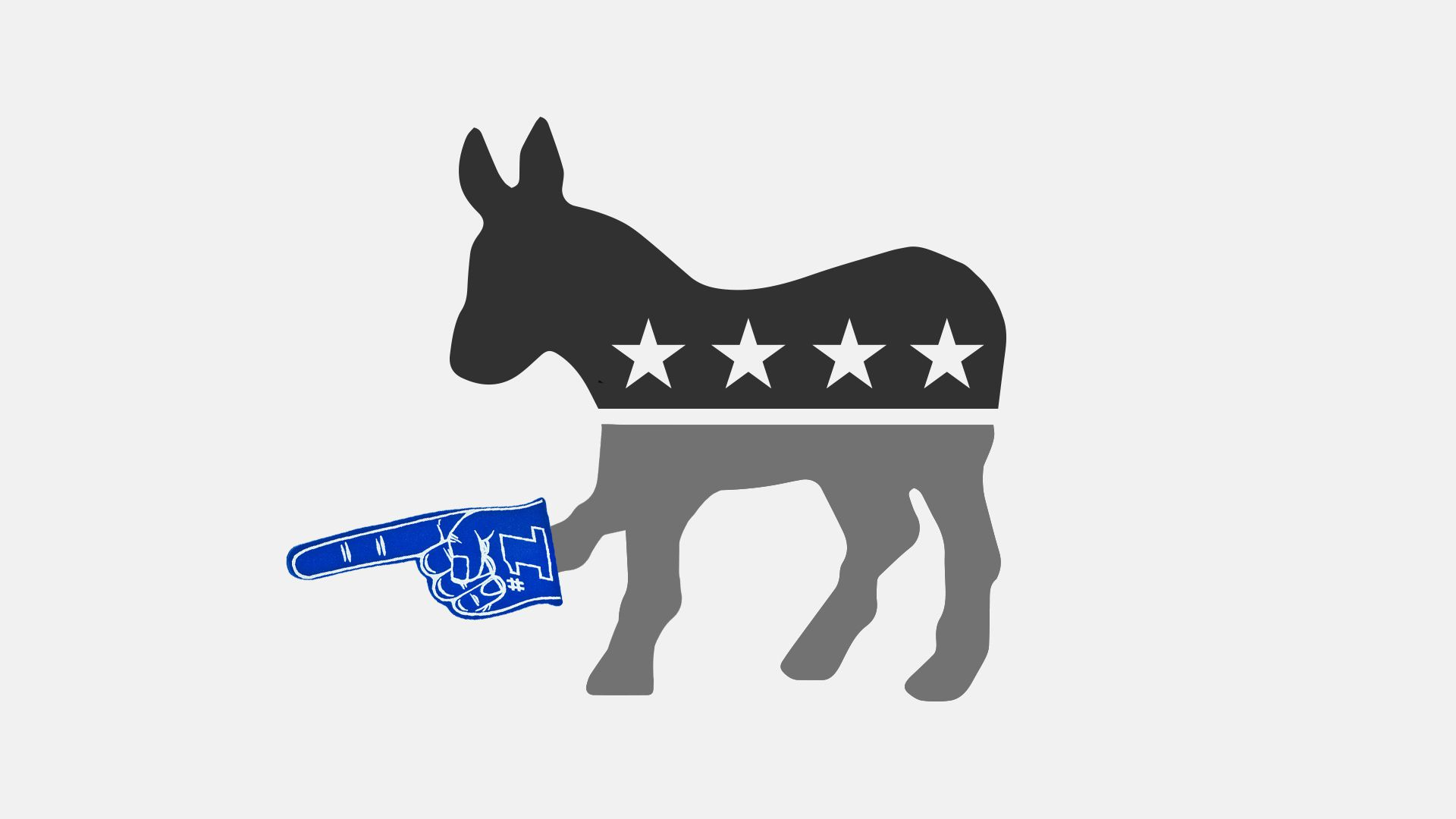 Illustration of  a democratic donkey with a #1 foam finger