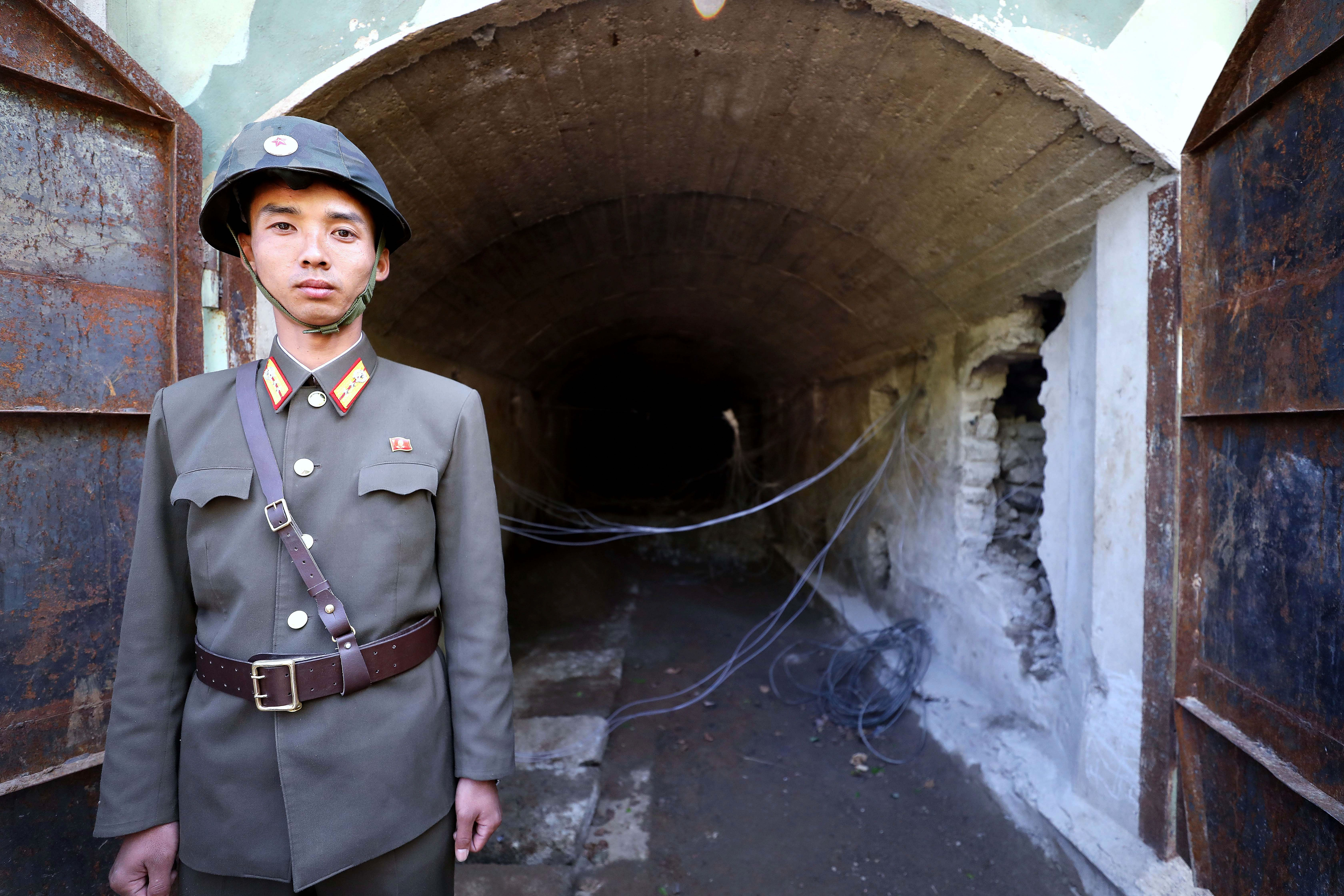 Entrance to a tunnel at the Punggye-ri nuclear test site. Photo:  News1-Dong-A Ilbo via Getty Images