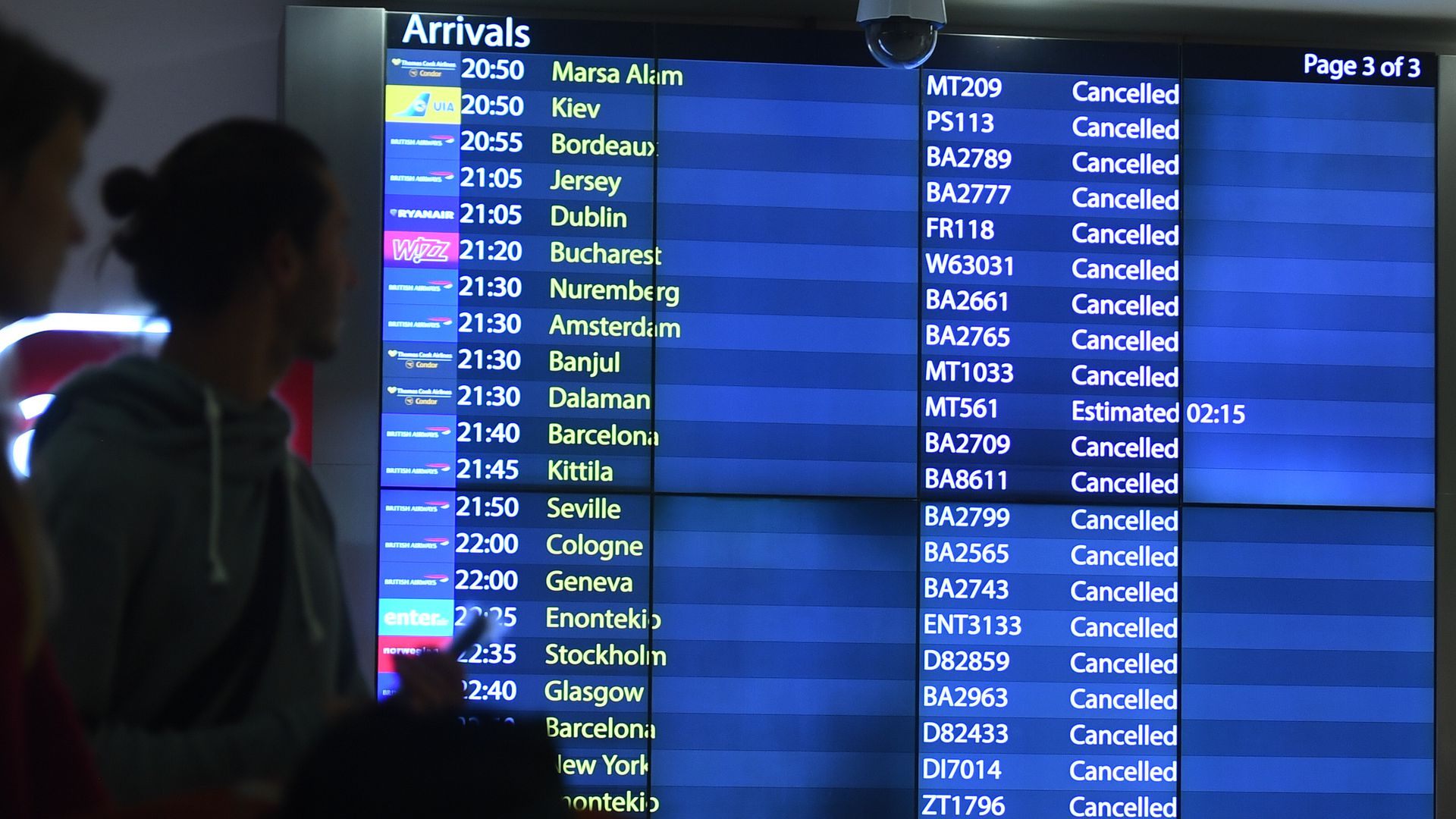 Airport board with list of flights canceled