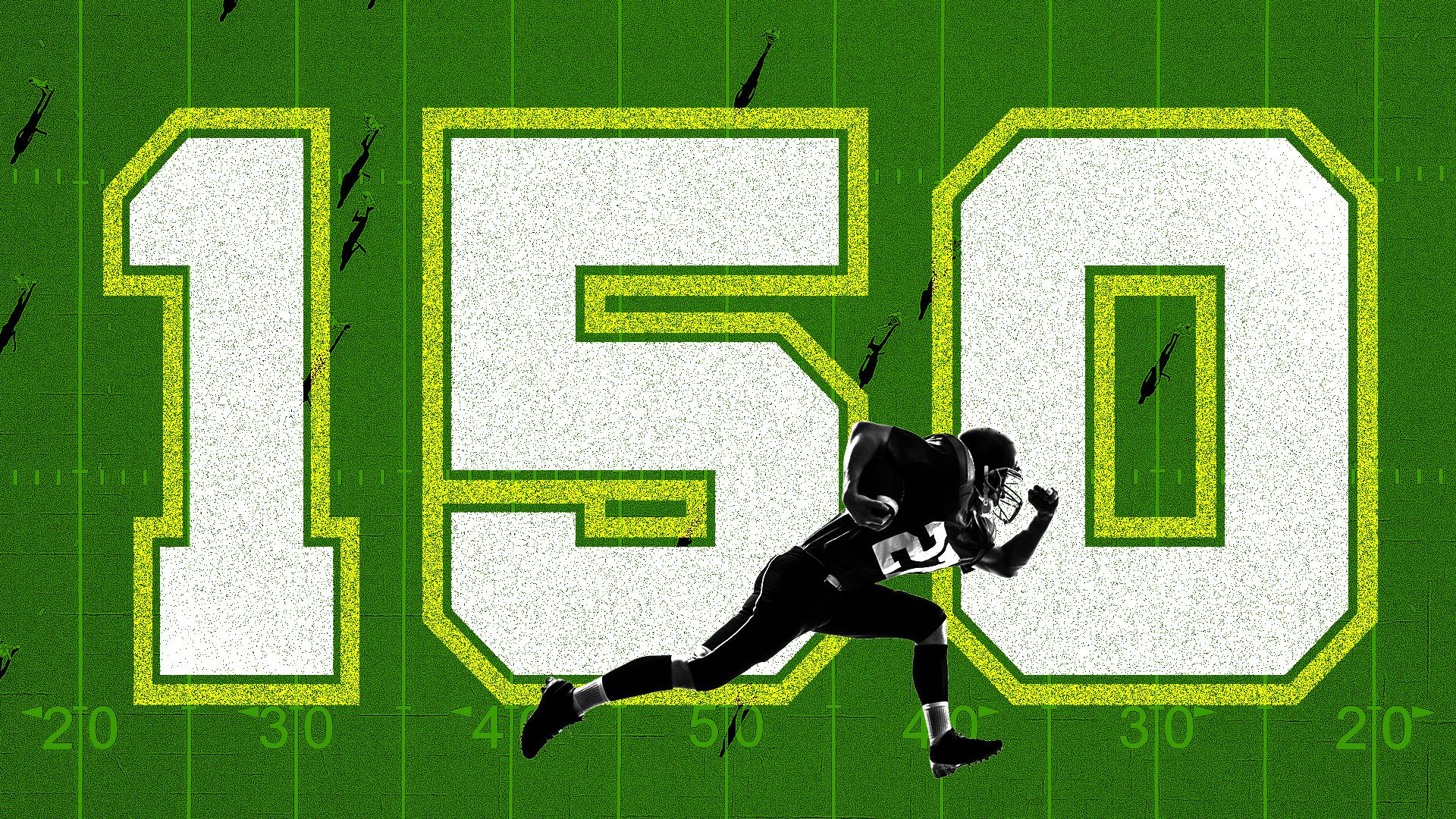 A football player running in front of large text reading '150'