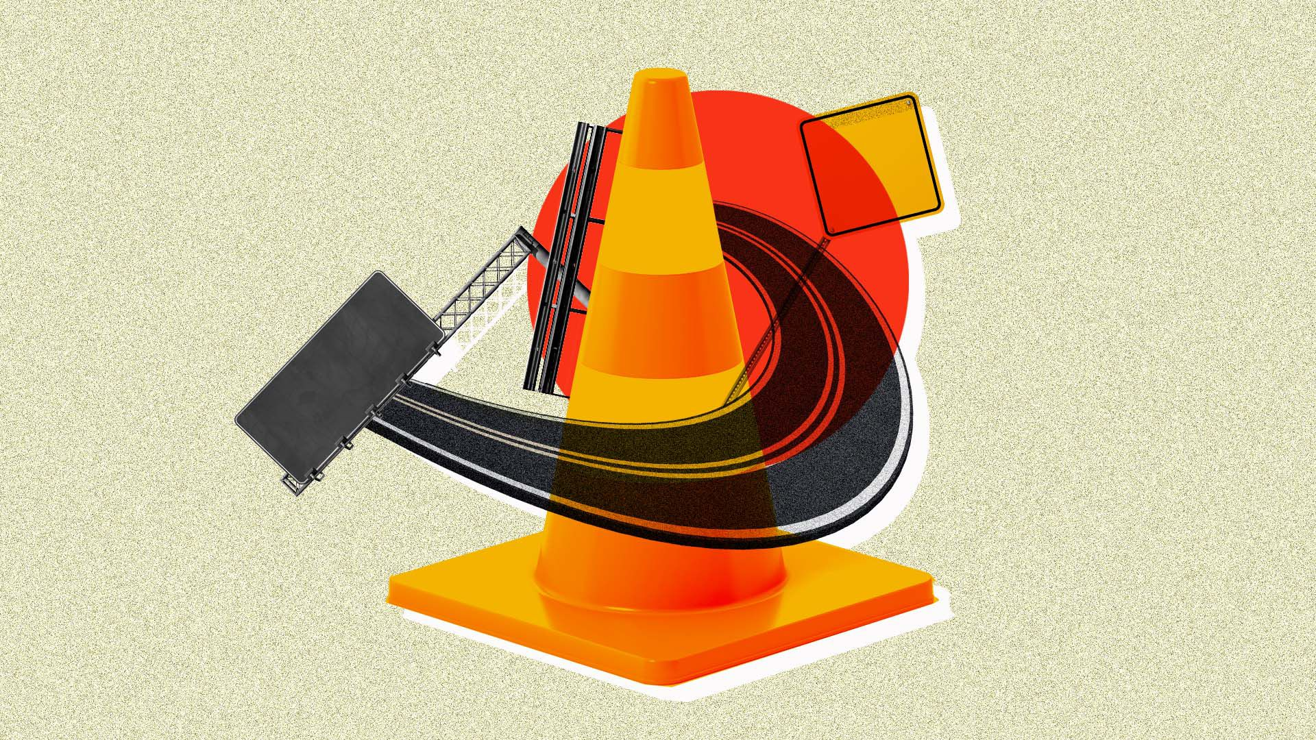 In this illustration, a road curves around a traffic cone.