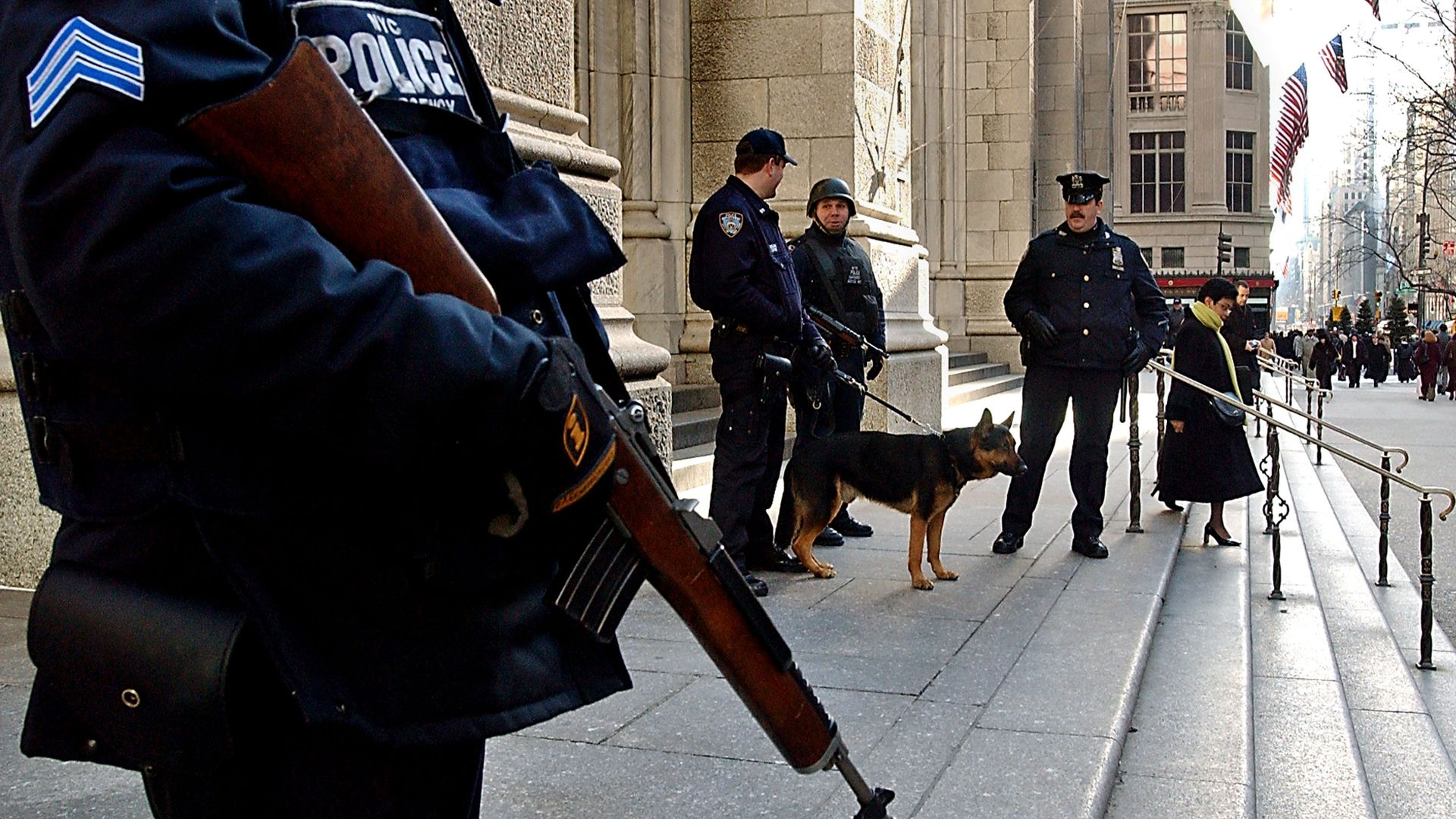 New York police officers stand guard in front of St. Patricks Cathedral February 12, 2003 in New York City.