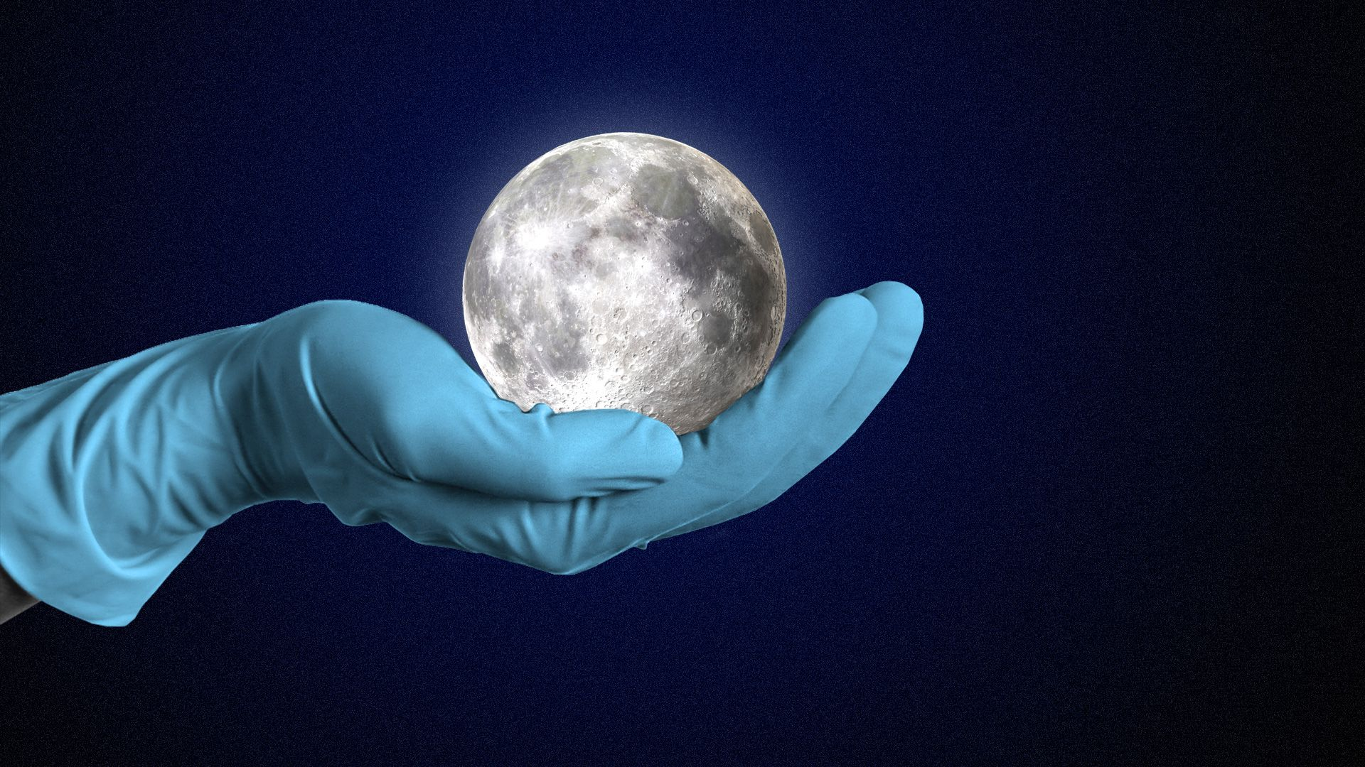 A hand with a latex glove holding the moon