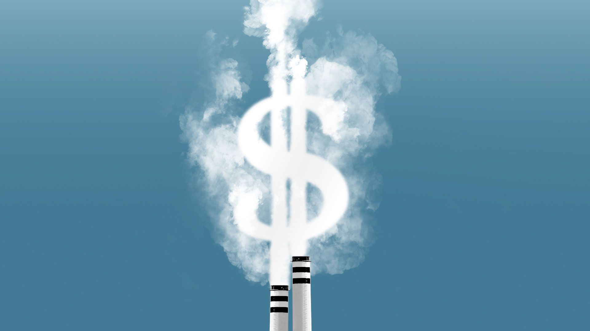 Illustration of smoke from two smoke stacks forming a dollar bill sign.