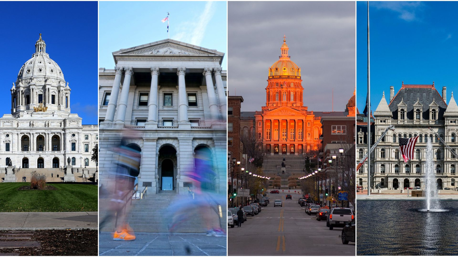 A collage of various state capitol buildings.
