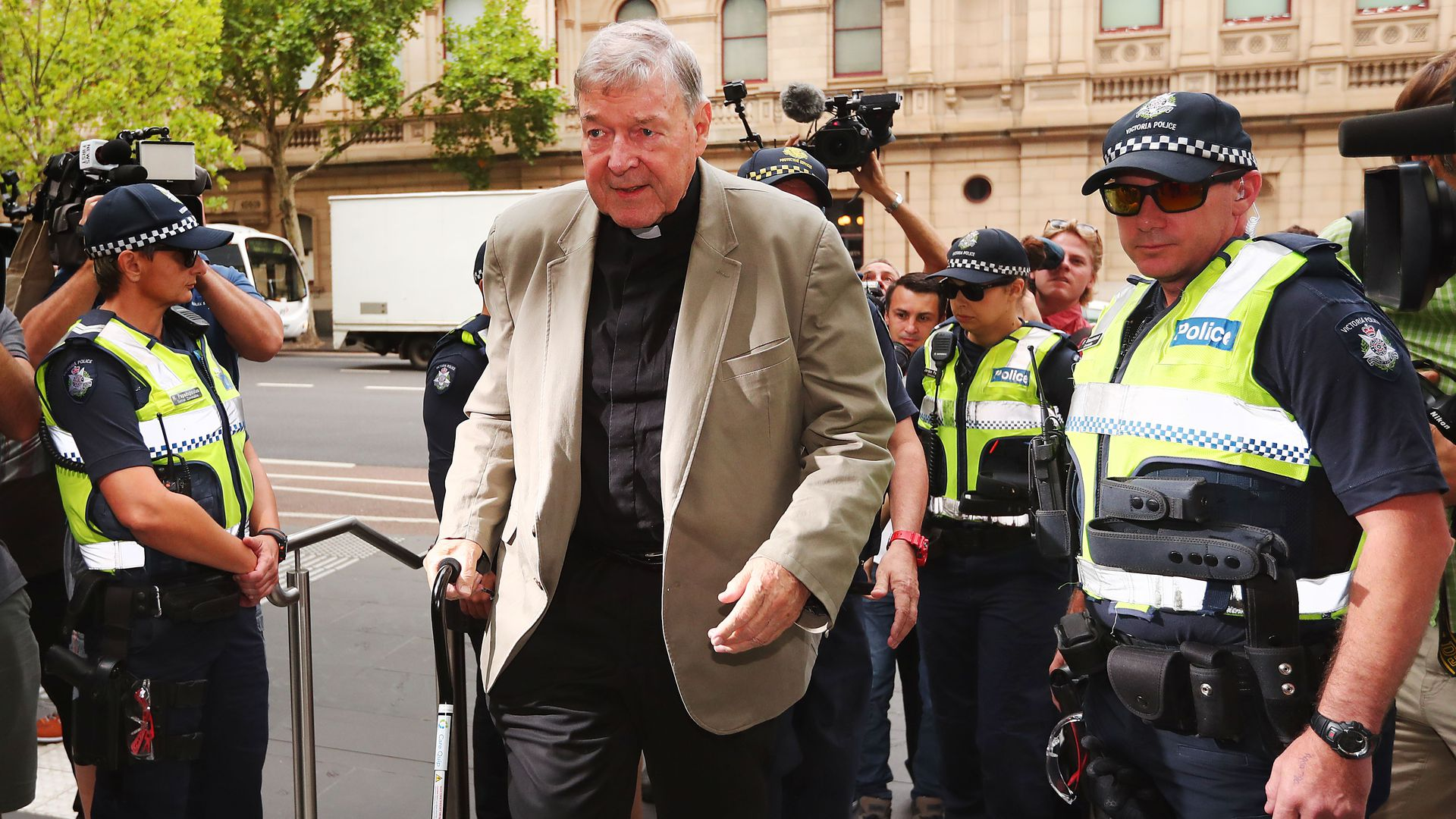 Cardinal George Pell at the County Court last month in Melbourne, Australia.