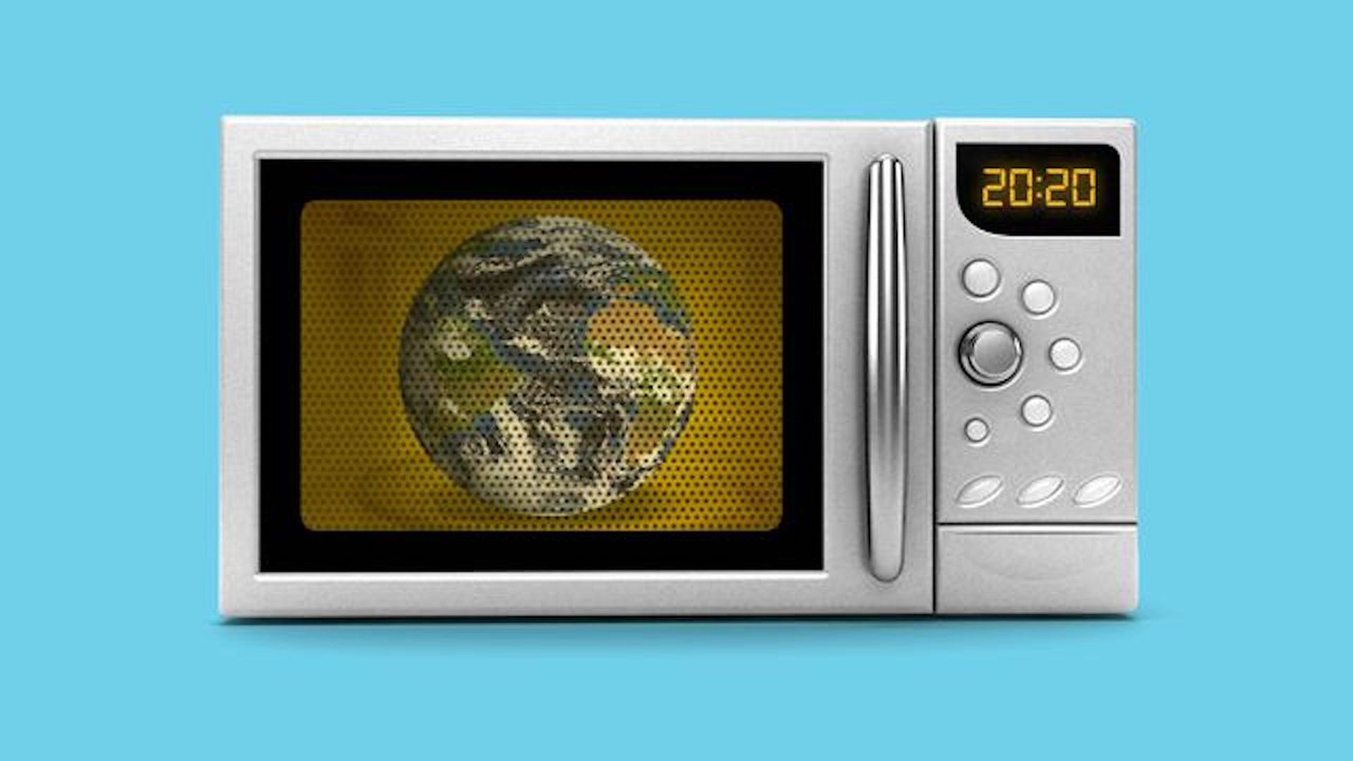 Earth inside a microwave illustration