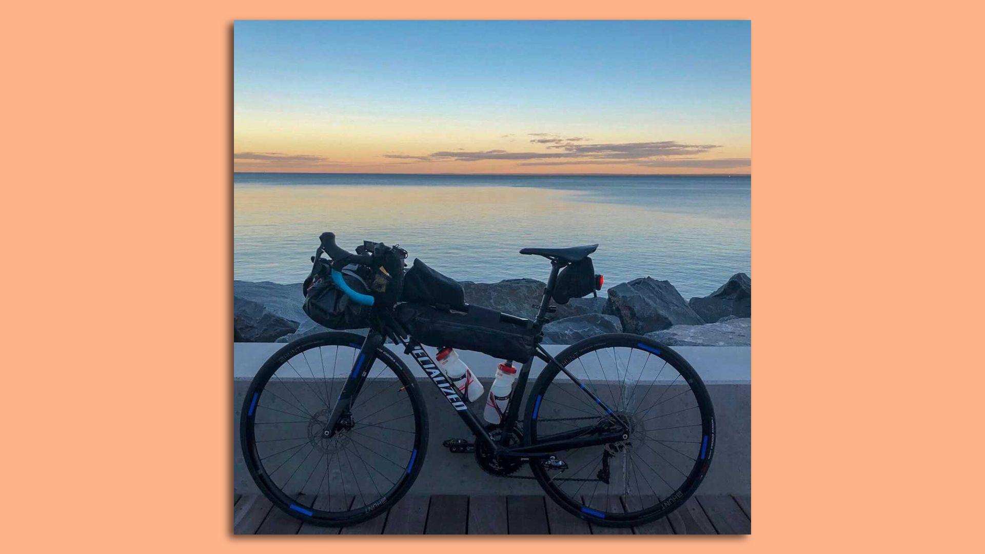 bike next to lake superior