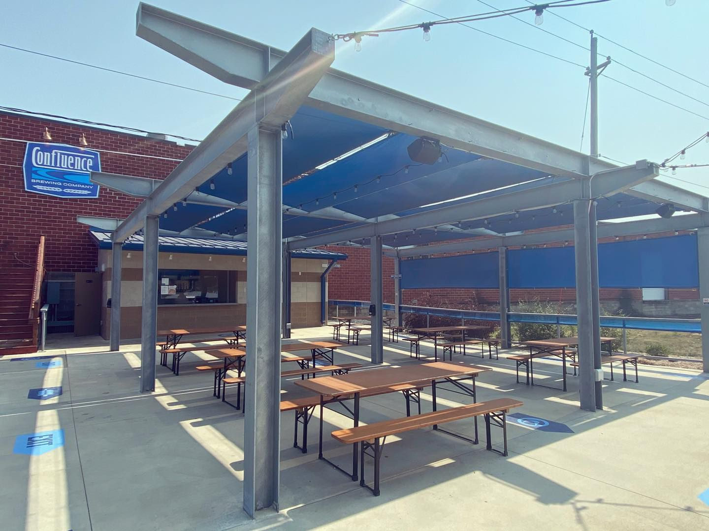 The patio at Confluence Brewing Company in Des Moines. Photo courtesy of Confluence.