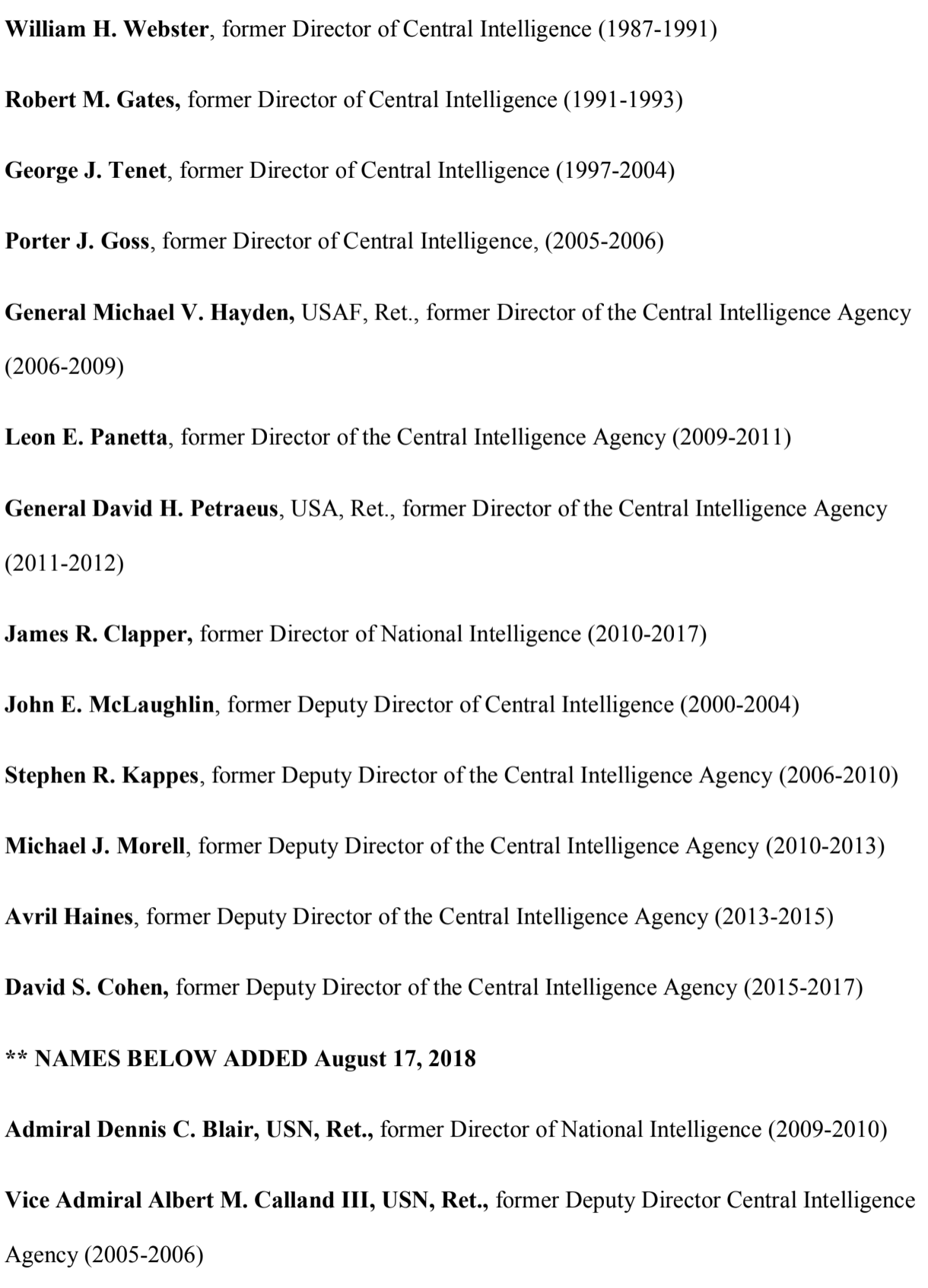 Over 70 former intelligence officers denounce Trump's threat to