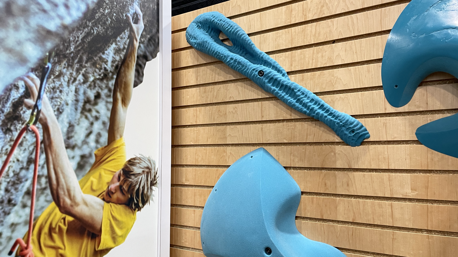 Trango's indoor climbing training holds on display at the Outdoor Retailers show. Photo: John Frank/Axios