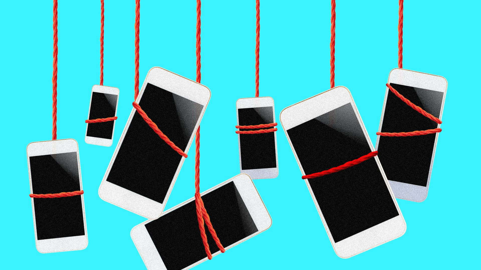 Illustration of smartphones dangling from ropes