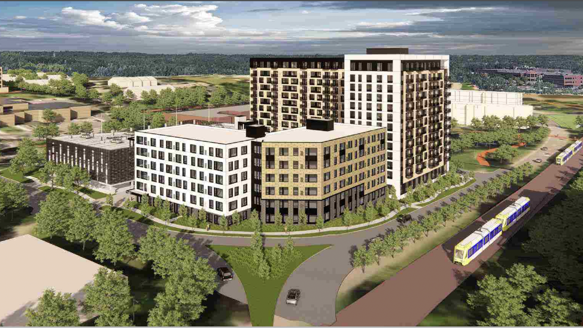 A rendering shows a planned complex in Minnetonka with as many as 400 apartments
