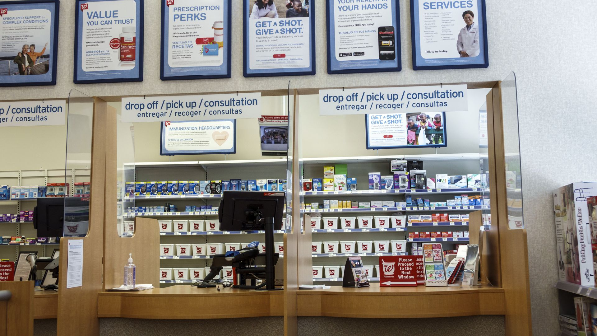 Pharmacy counter at Walgreens