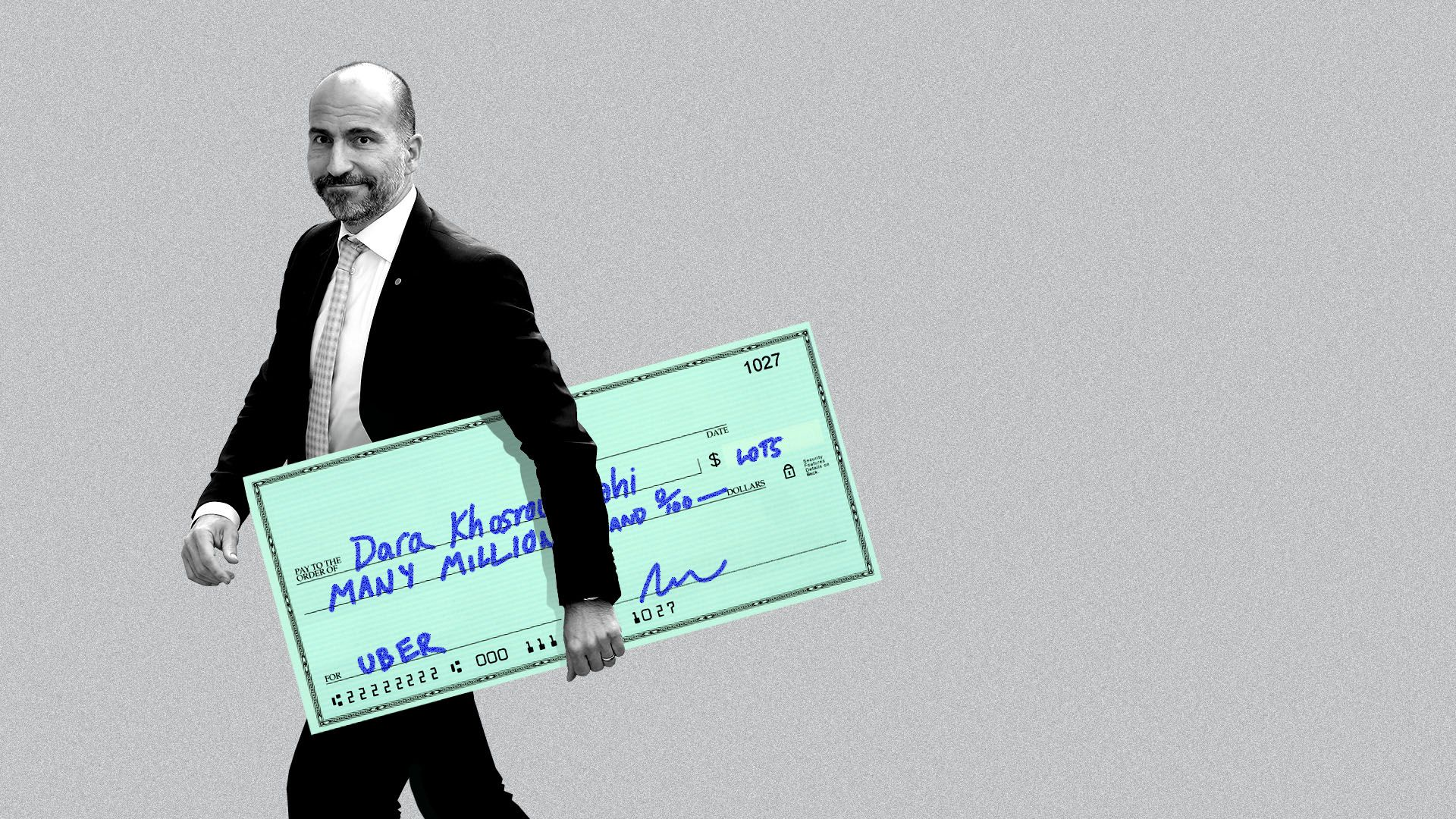 Illustration of Uber CEO Dara Khosrowshahi holding a giant check