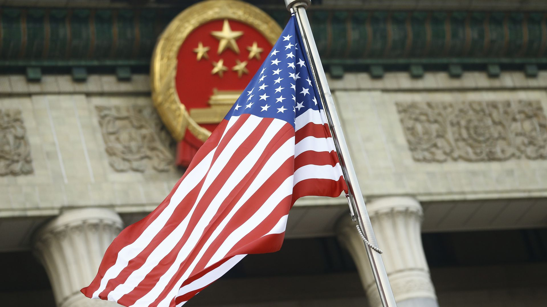 A US flag in front of a Chinese building