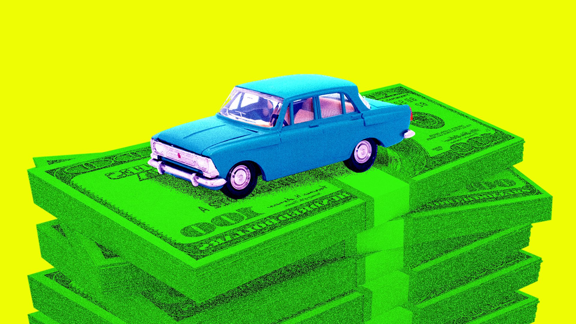 A blue car sitting atop a pile of money
