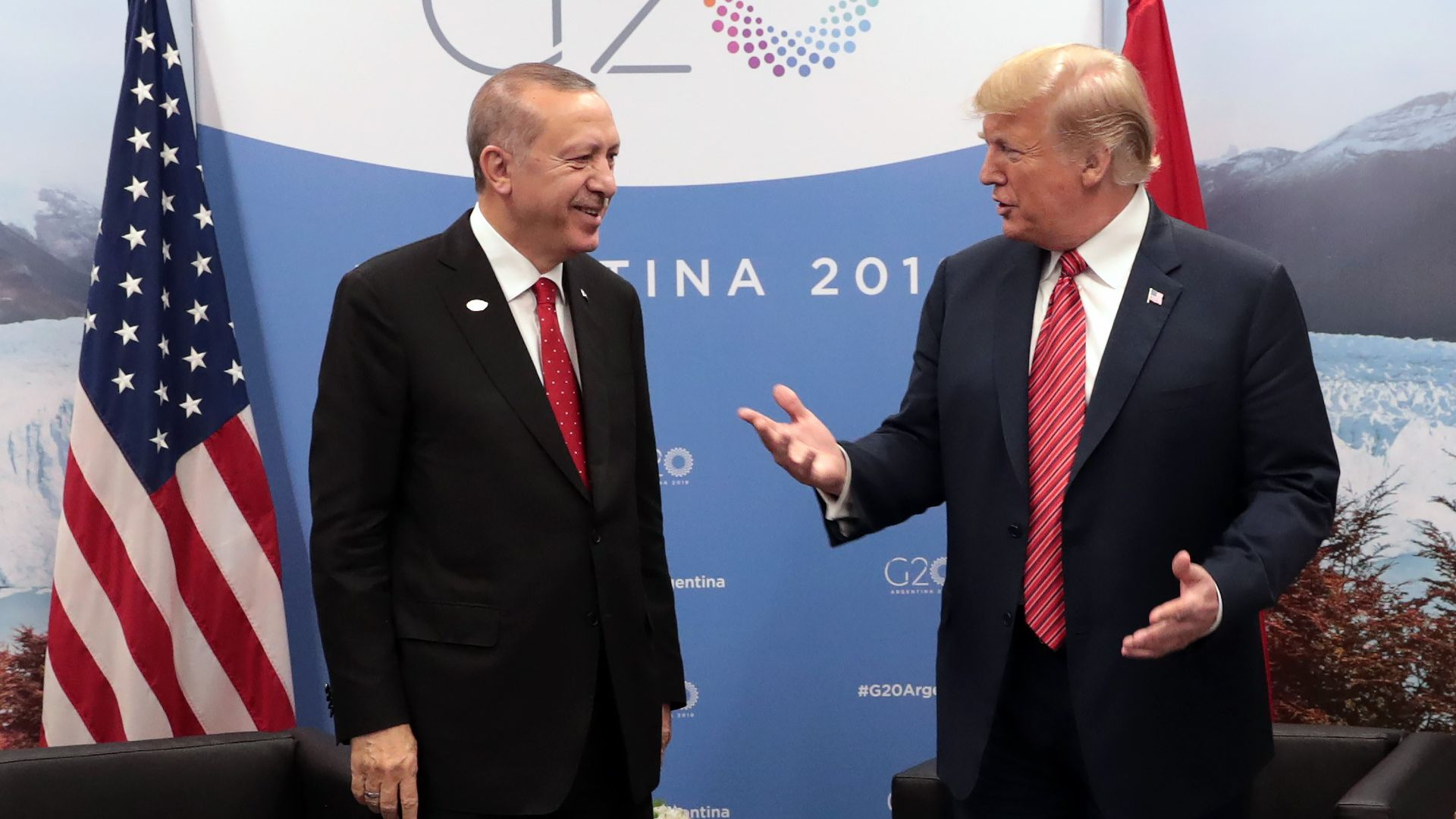 Turkish president with Donald Trump at g20 summit