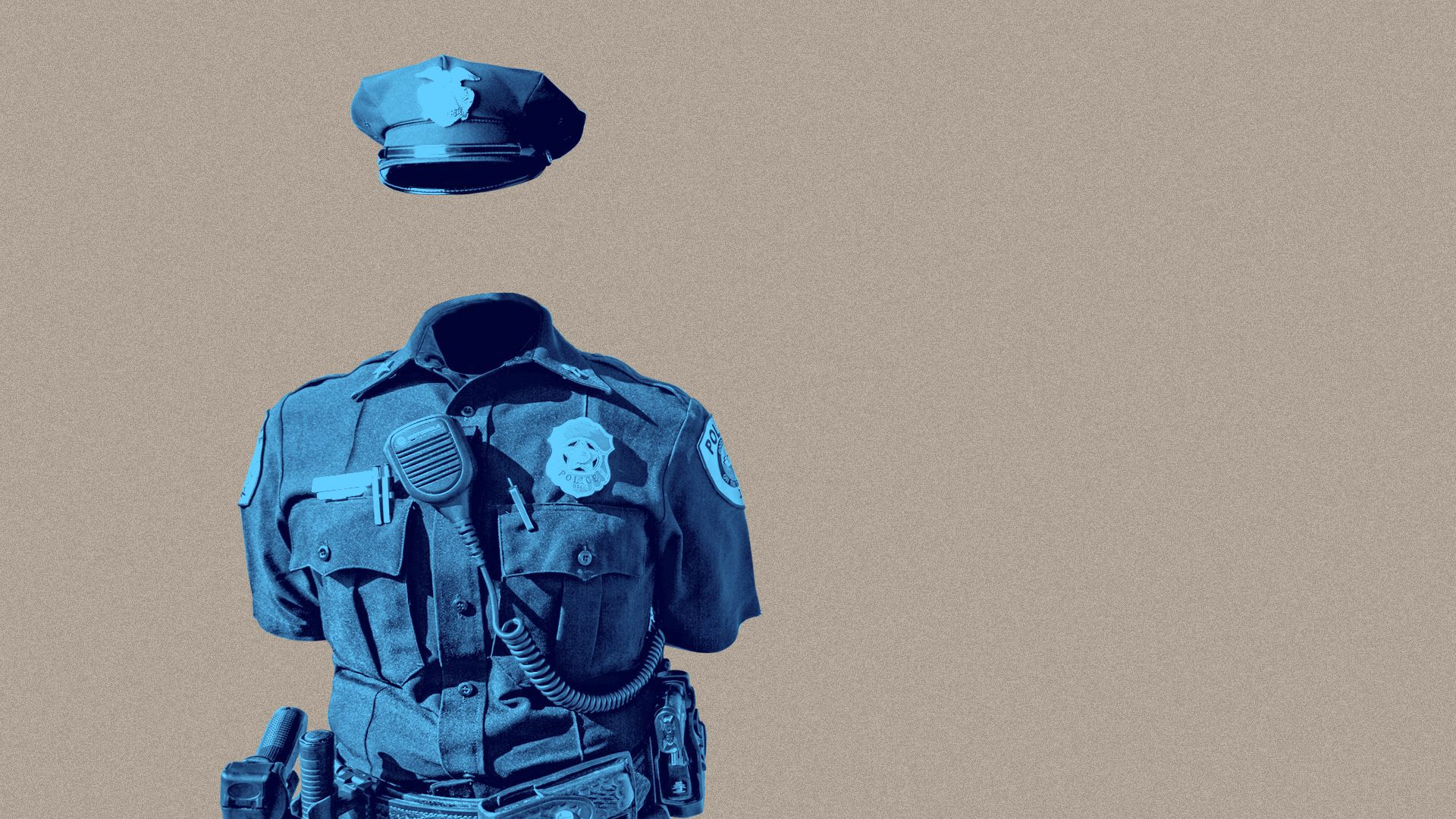 Illustration of a police uniform standing with no person inside it.