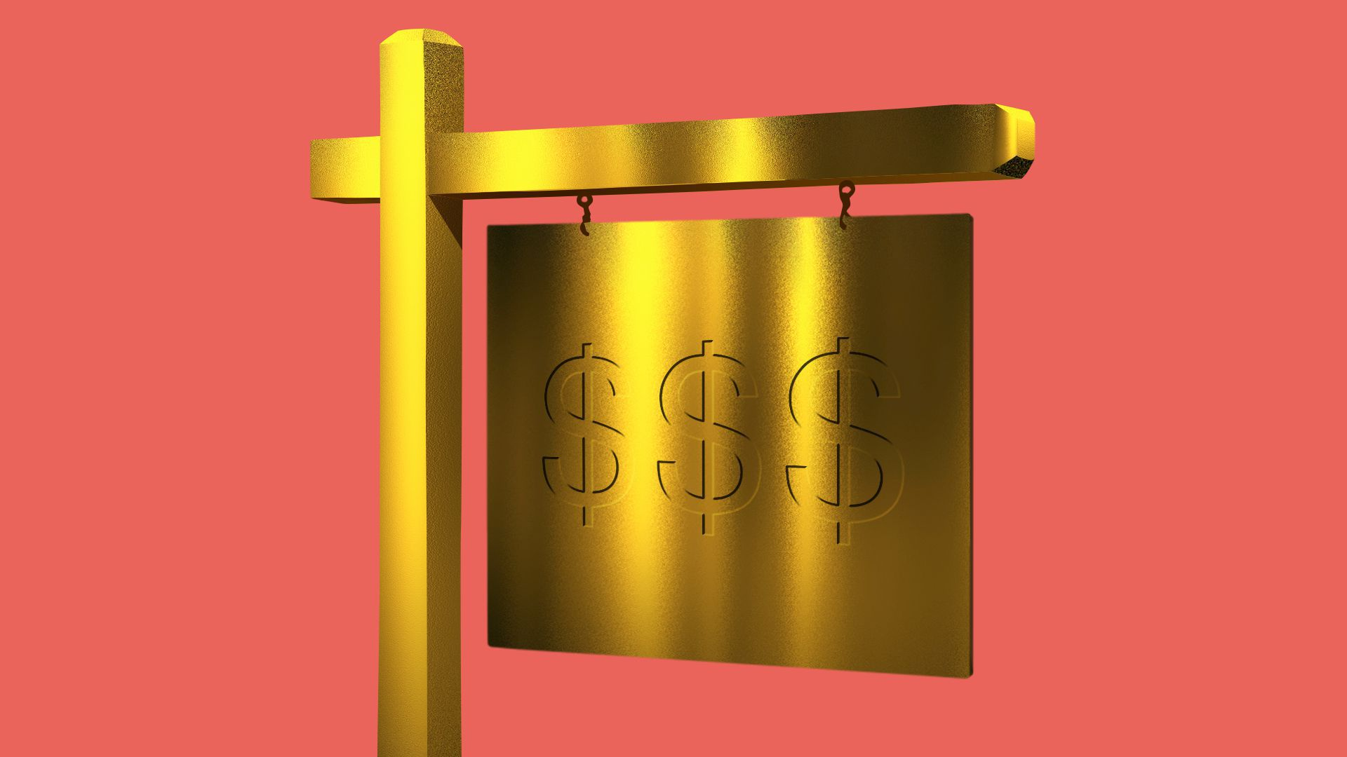 Illustration of a gold-plated house-for-sale sign.