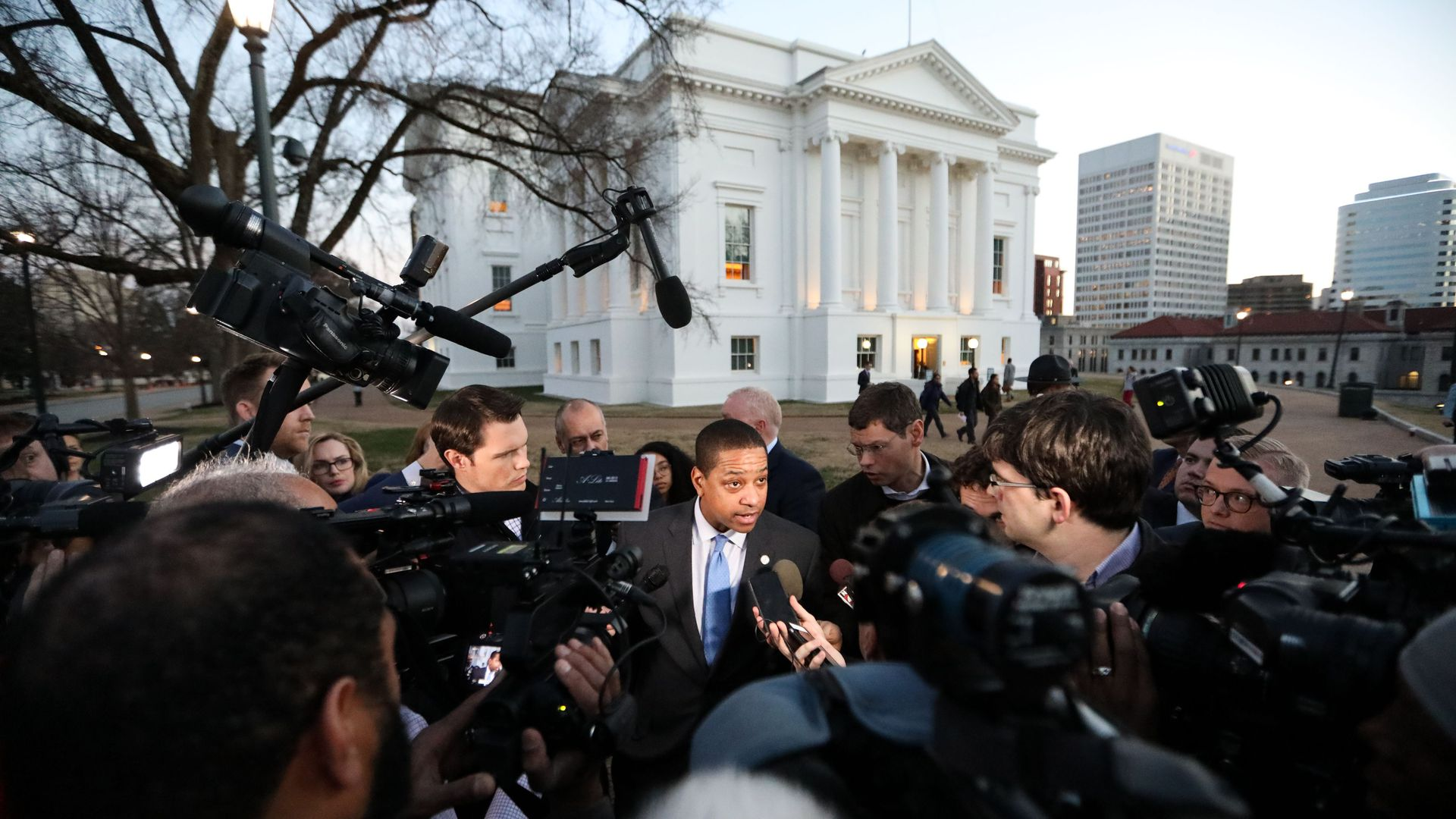 Justin Fairfax interviewed by swarm of reporters