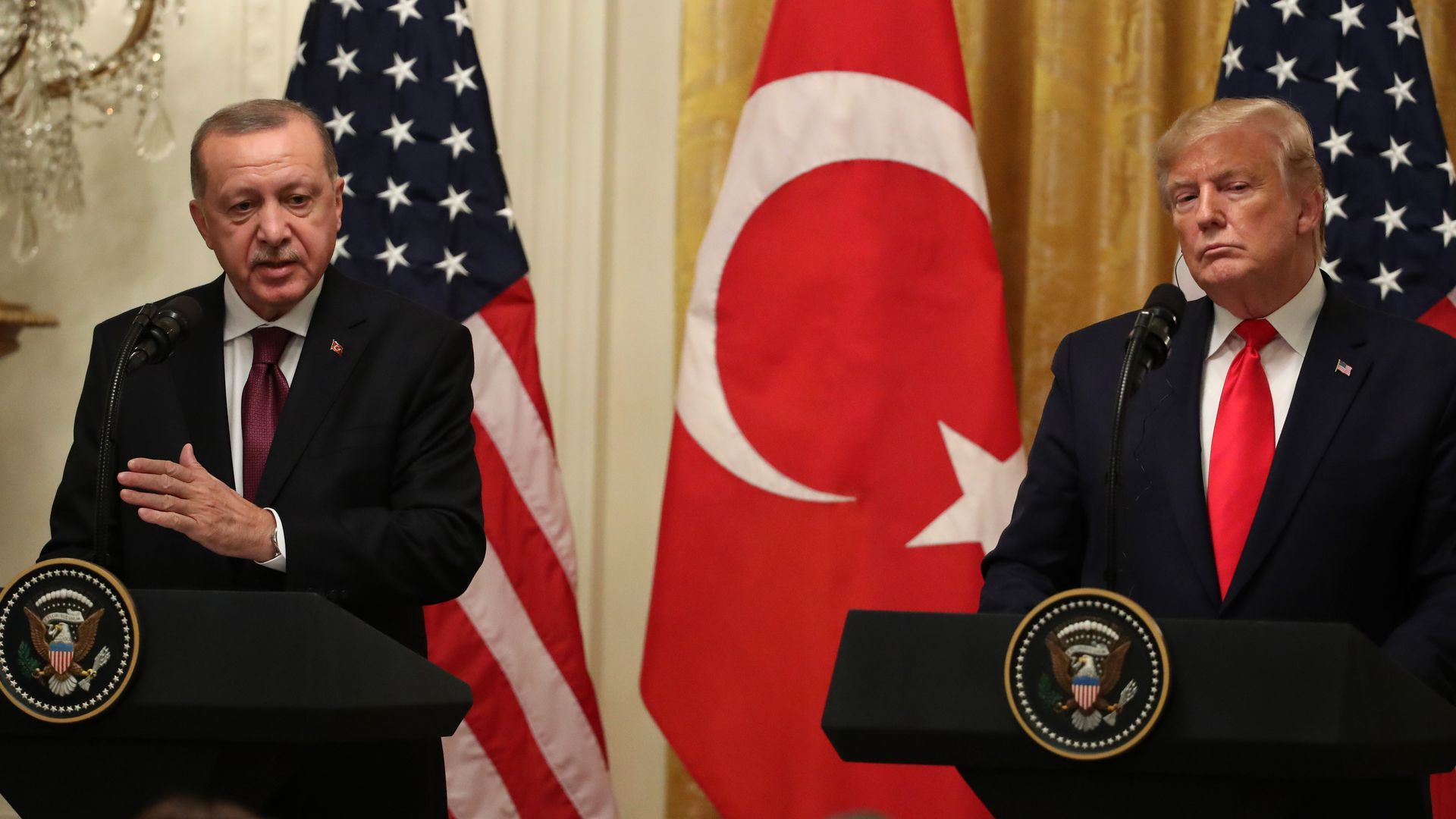 Turkish President Recep Tayyip Erdogan speaks during a press conference with President Trump