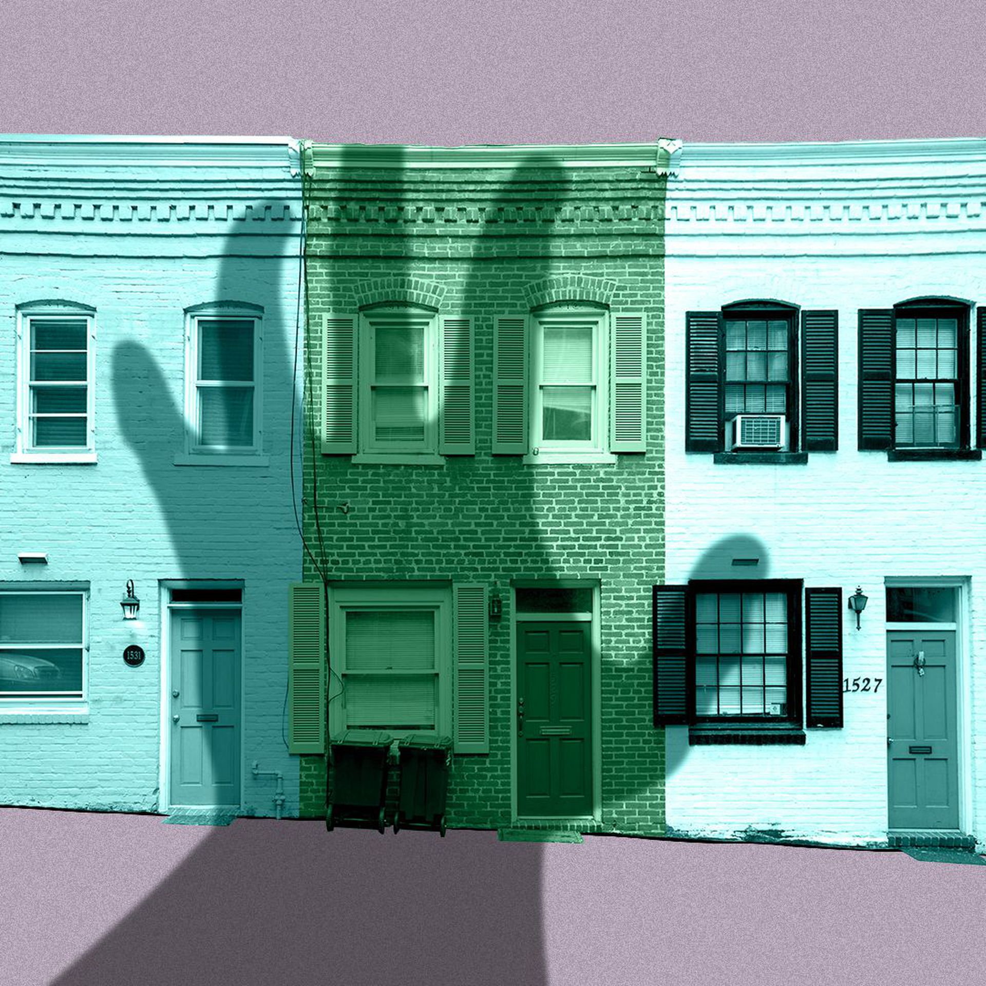 Illustration of a shadowy hand looming over three row houses.