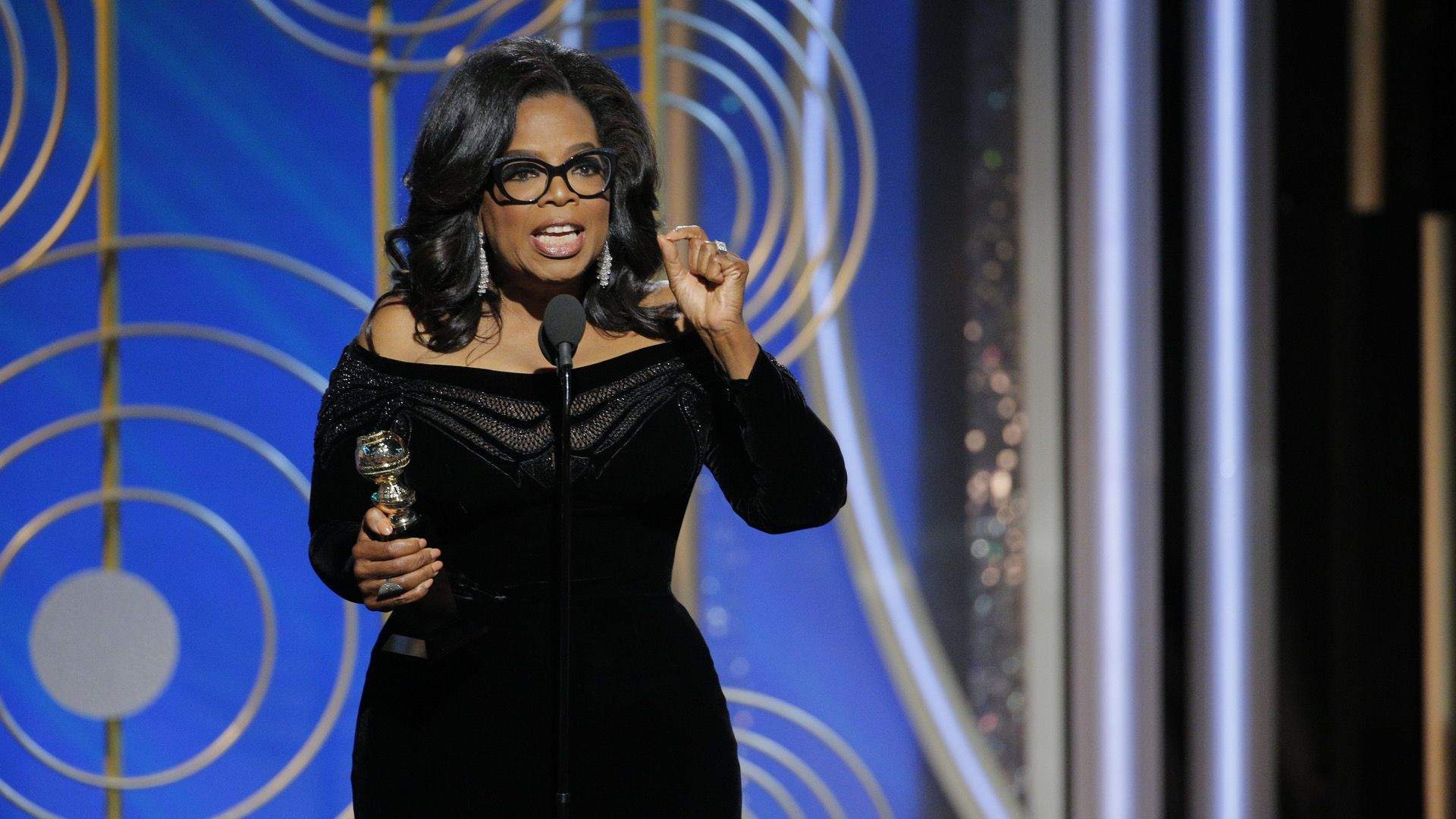 Oprah Winfrey accepting the Golden Globes' Cecil B. DeMille Award
