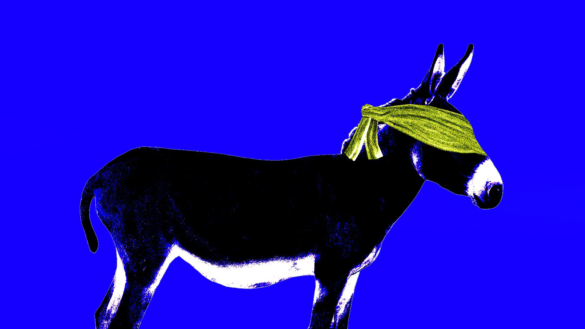 An illustration of a donkey blindfolded