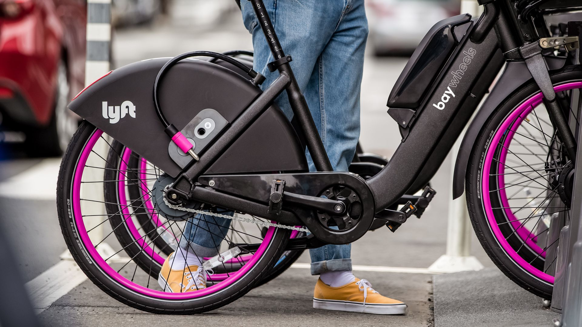Photo of Lyft's new bike-share bikes with Lyft and Bay Wheels branding.